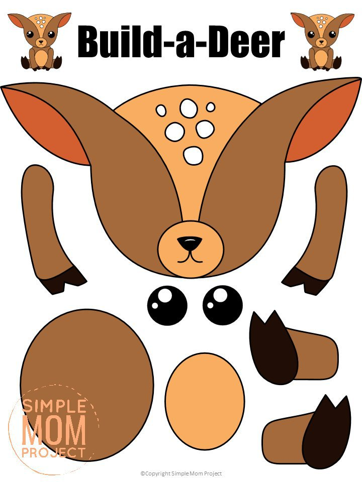 Printable Forest Deer Craft Template for kids, preschoolers, toddlers and kindergartners
