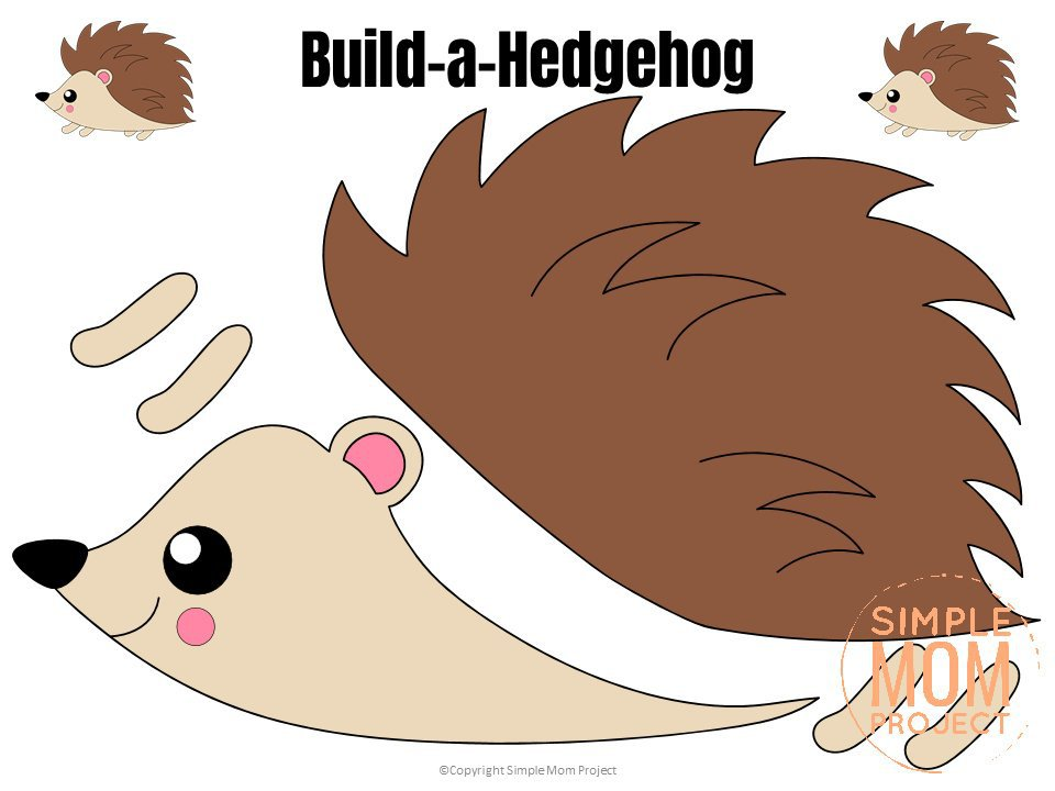 Printable Forest Hedgehog Craft Template for kids, preschoolers, toddlers and kindergartners