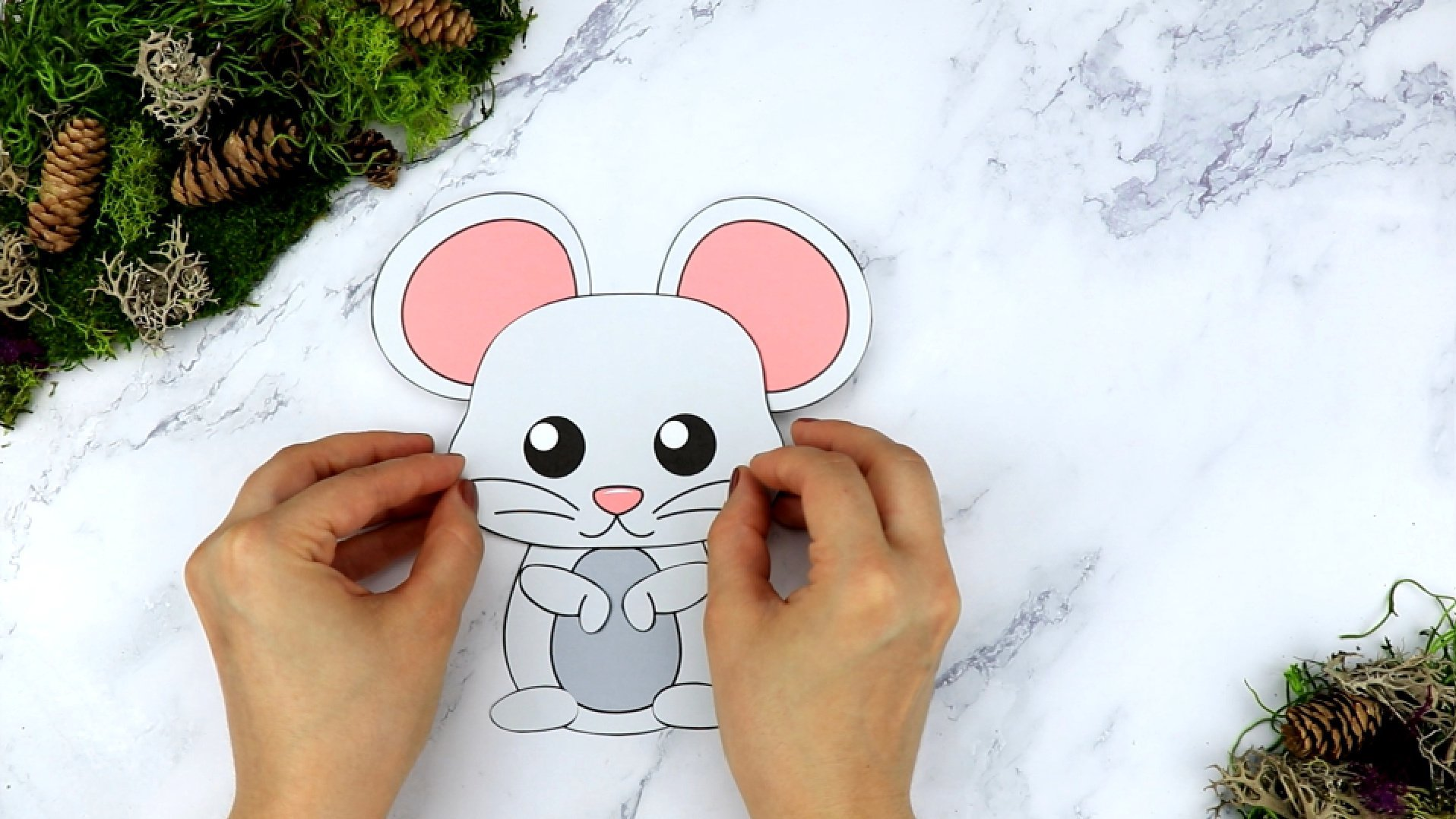 Free Printable Forest Mouse Craft Template for kids, preschoolers, toddlers and kindergartners