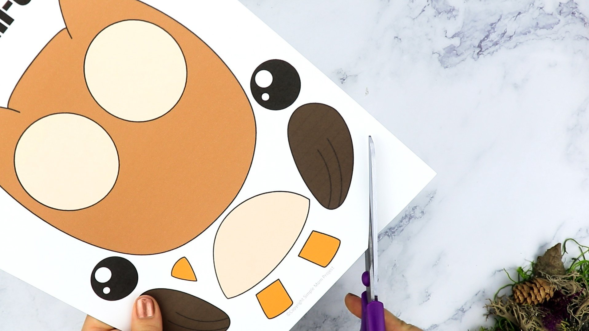 Free Printable Forest Owl Craft Template for kids, preschoolers, toddlers and kindergartners