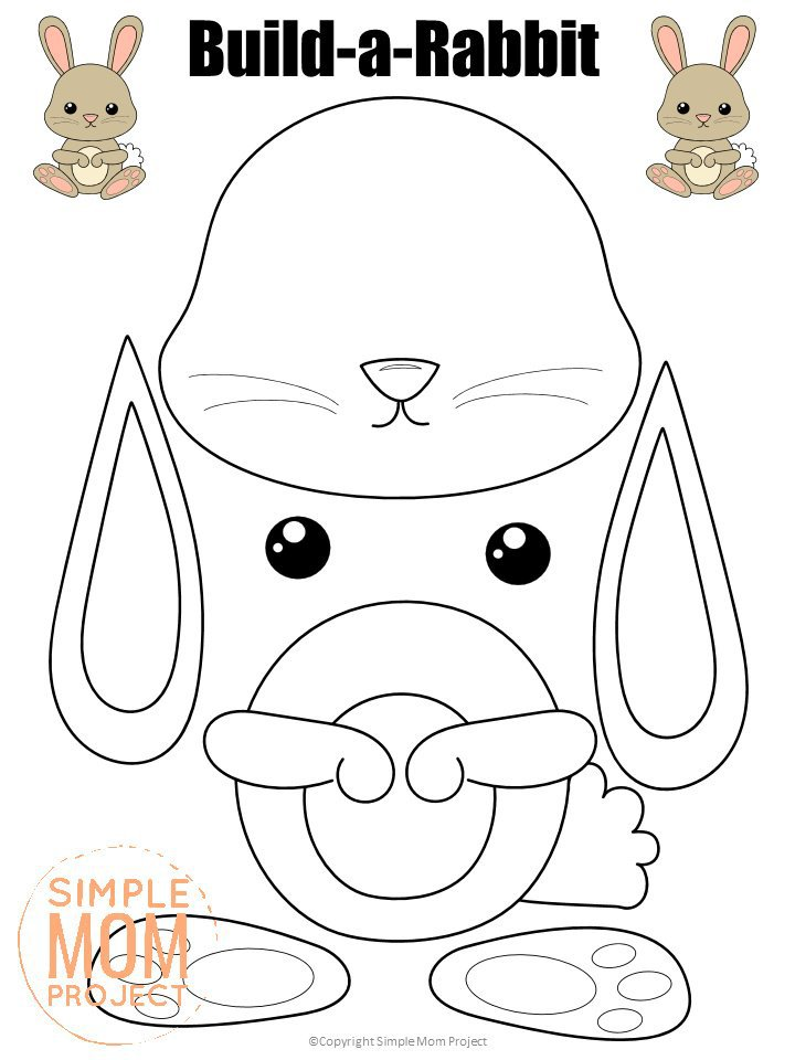 Printable Forest Rabbit Craft Template for kids, preschoolers, toddlers and kindergartners