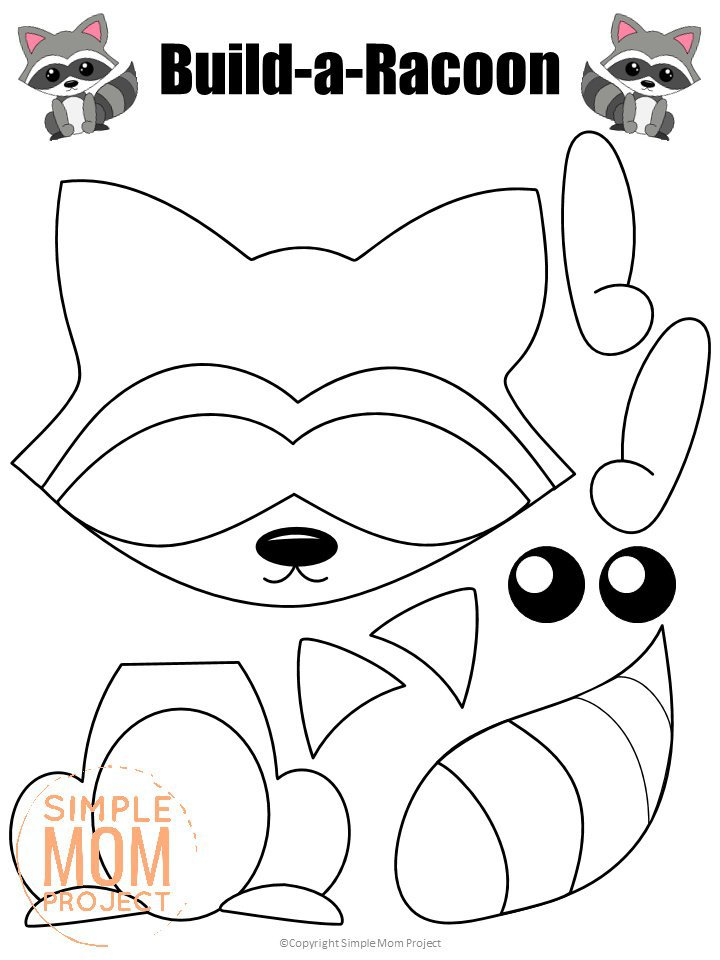 Printable Forest Raccoon Craft Template for kids, preschoolers, toddlers and kindergartners