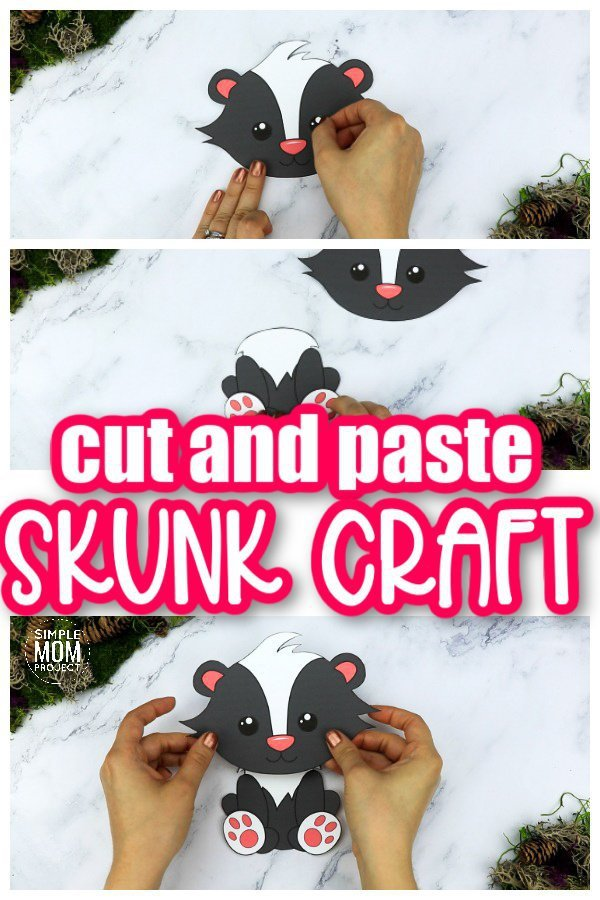 Printable Forest Skunk Craft Template for kids, preschoolers, toddlers and kindergartners