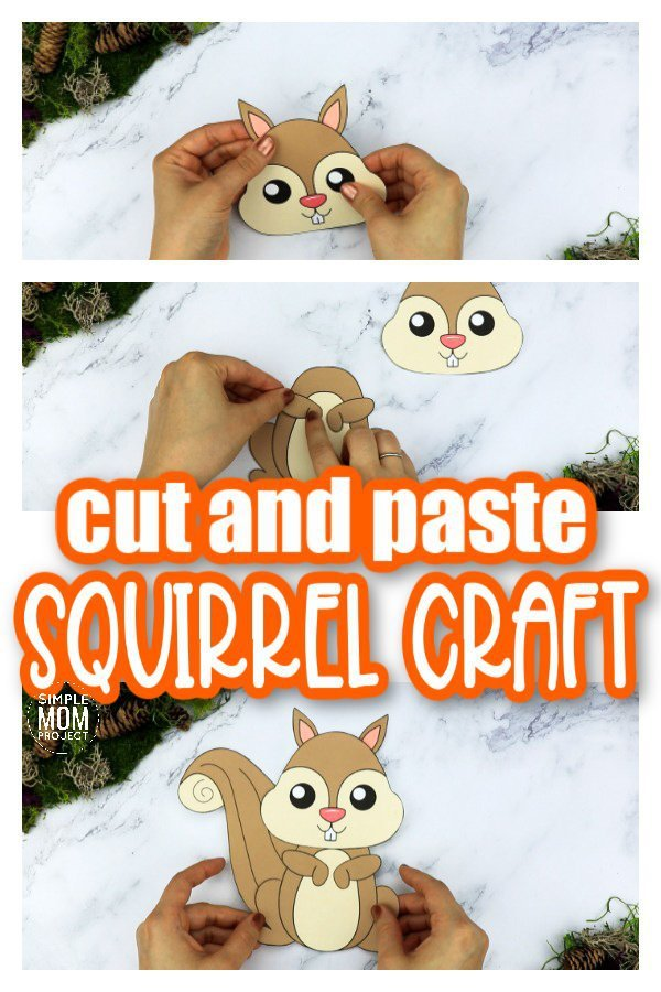 Printable Forest Squirrel Craft Template for kids, preschoolers, toddlers and kindergartners