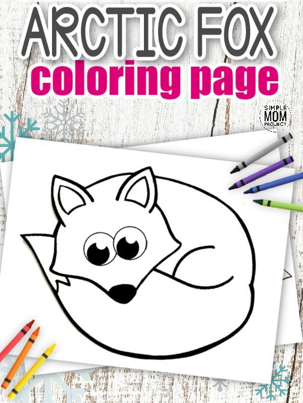 Download Printable Simple Arctic Animal Fox Coloring Page for kids preschoolers and toddlers