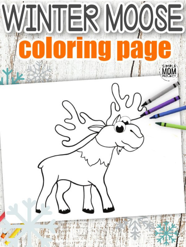 Download Printable Simple Arctic Animal Moose Coloring Page for kids preschoolers and toddlers