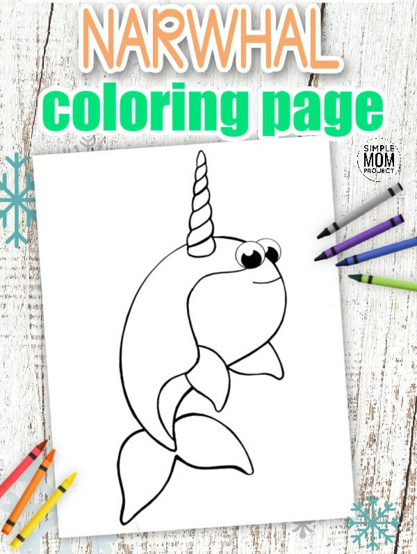 Download Printable Simple Arctic Animal Narwhal Coloring Page for kids preschoolers and toddlers