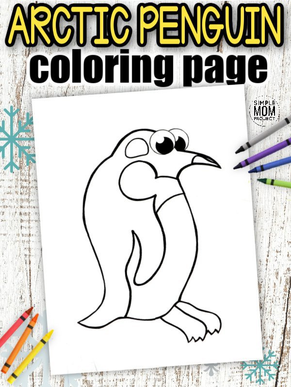 Download Printable Simple Arctic Animal Penguin Coloring Page for kids preschoolers and toddlers