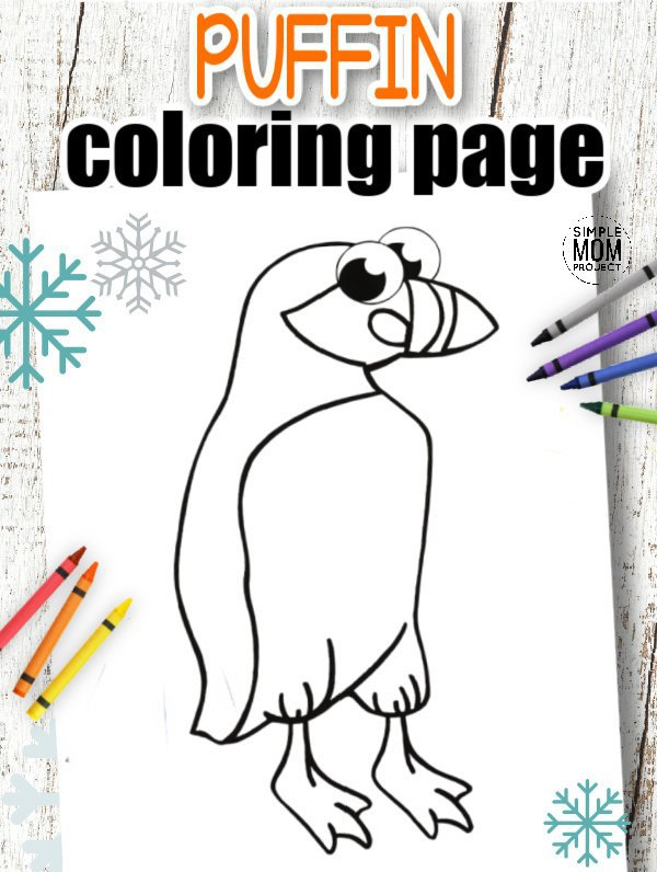 Download Printable Simple Arctic Animal Puffin Coloring Page for kids preschoolers and toddlers