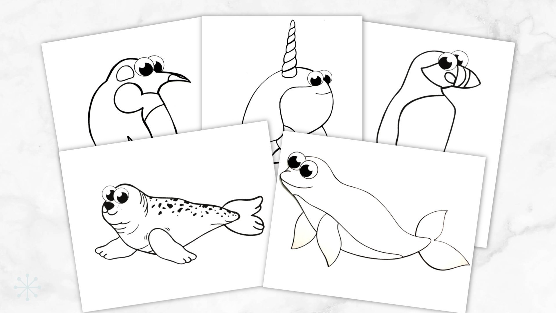Printable Simple Arctic Animals Coloring Page for kids preschoolers and toddlers Promo