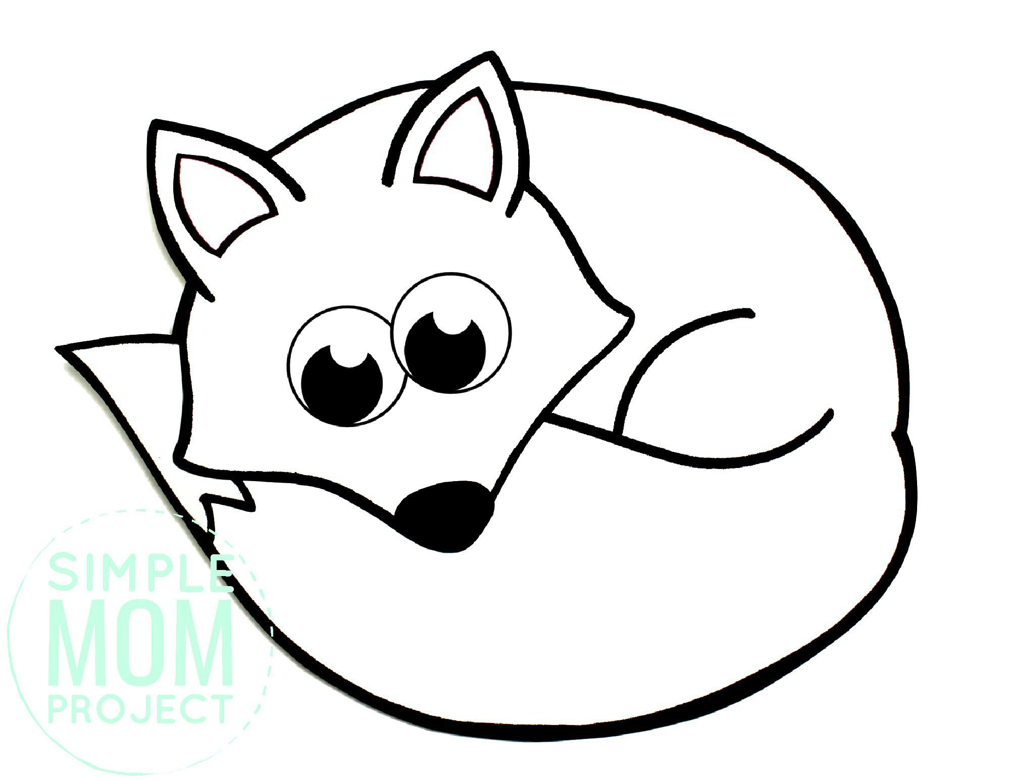 Free Printable Simple Arctic Animal Fox Coloring Page for kids preschoolers and toddlers