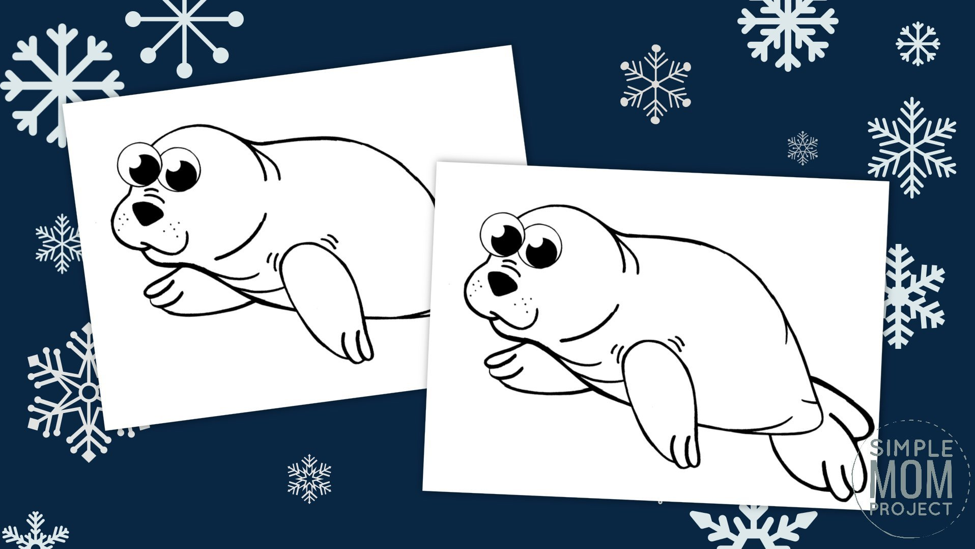 Free Printable Simple Arctic Animal Harp Seal Coloring Page for kids preschoolers and toddlers