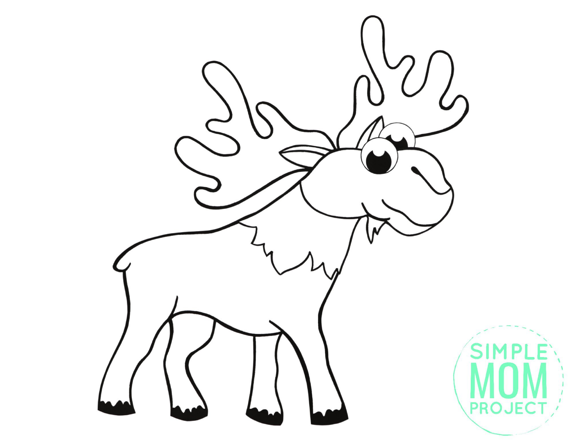Free Printable Simple Arctic Animal Moose Coloring Page for kids preschoolers and toddlers