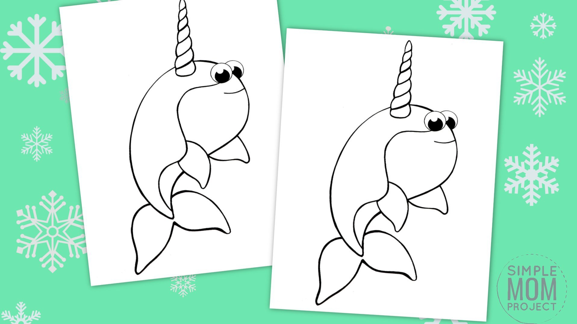 Free Printable Simple Arctic Animal Narwhal Coloring Page for kids preschoolers and toddlers