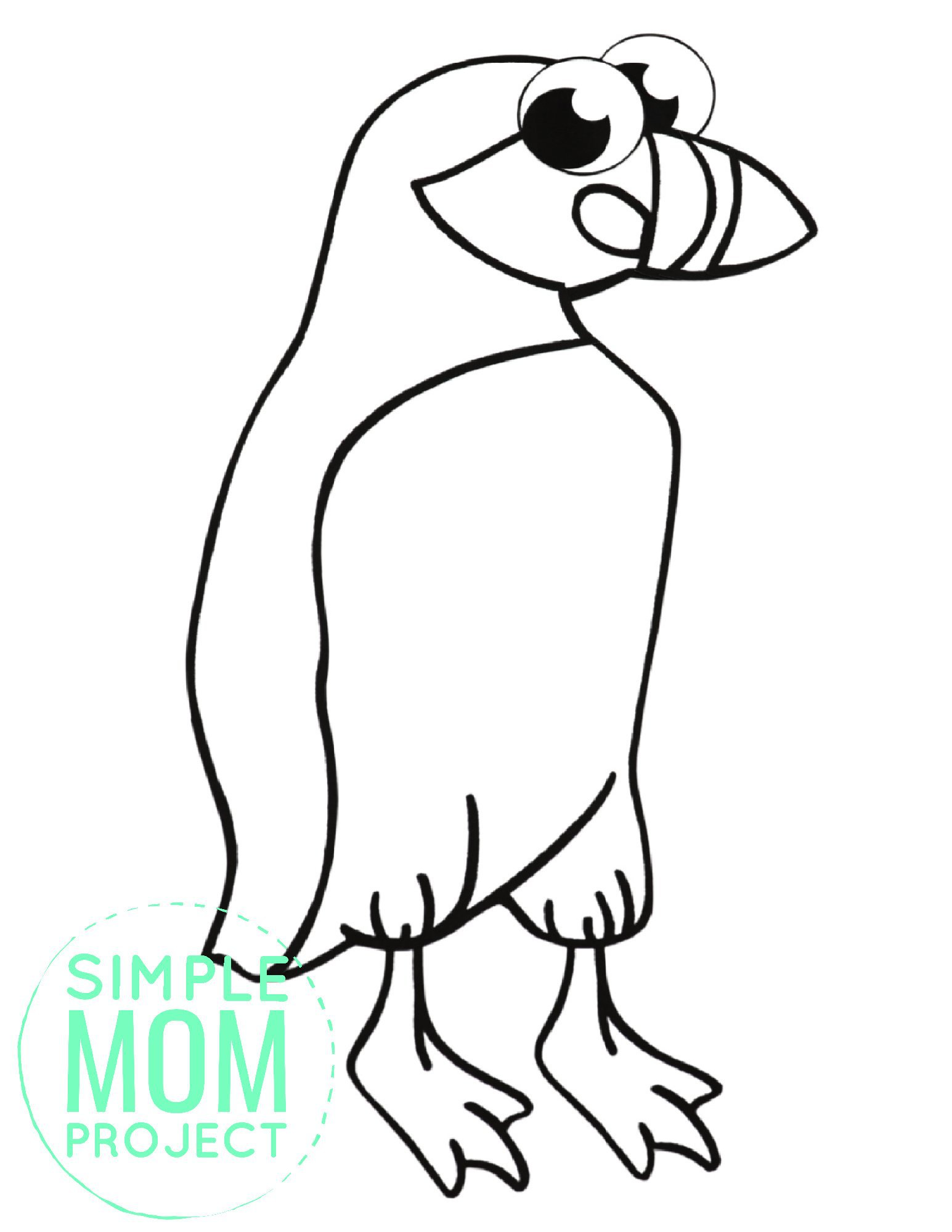 Free Printable Simple Arctic Animal Puffin Coloring Page for kids preschoolers and toddlers