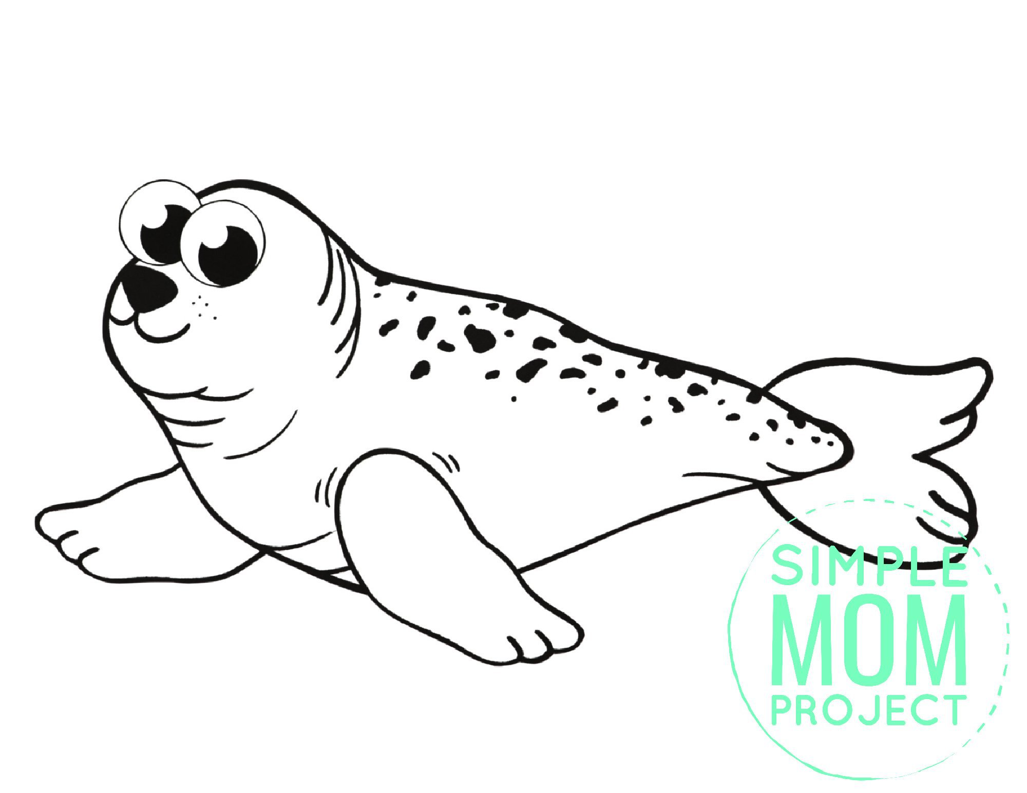 Free Printable Simple Arctic Animal Ringed Seal Coloring Page for kids preschoolers and toddlers