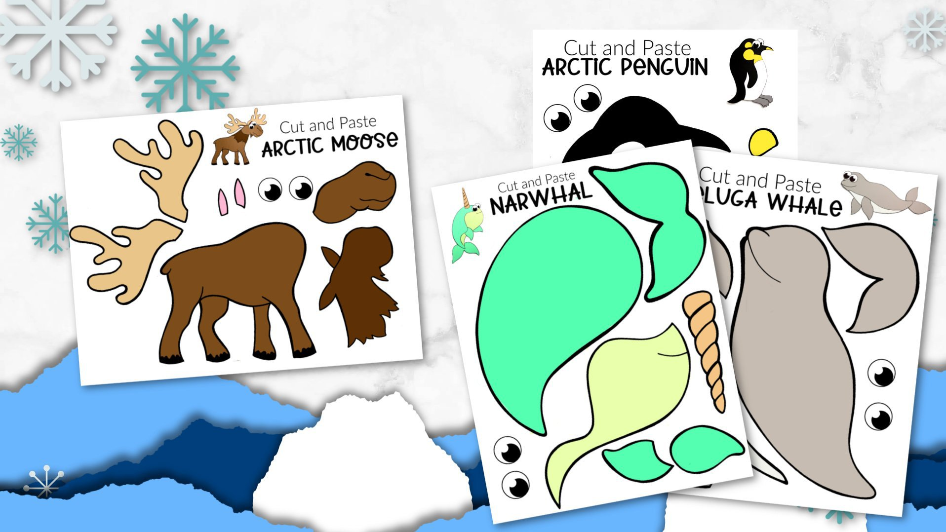 Printable Arctic Animal Crafts for Kids Preschoolers, toddlers and Kindergartners