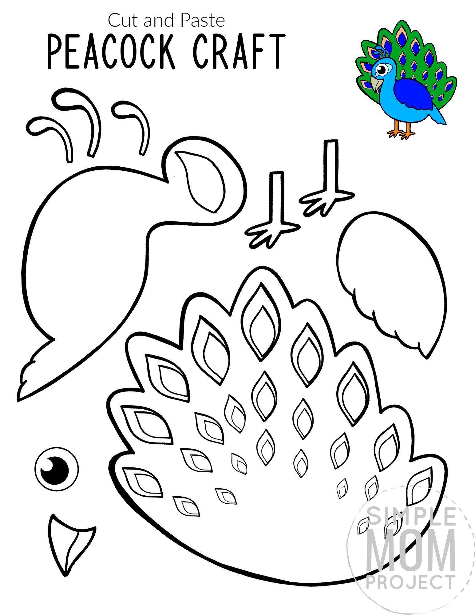Printable Peacock Craft for Kids, preschoolers toddlers and kindergartners