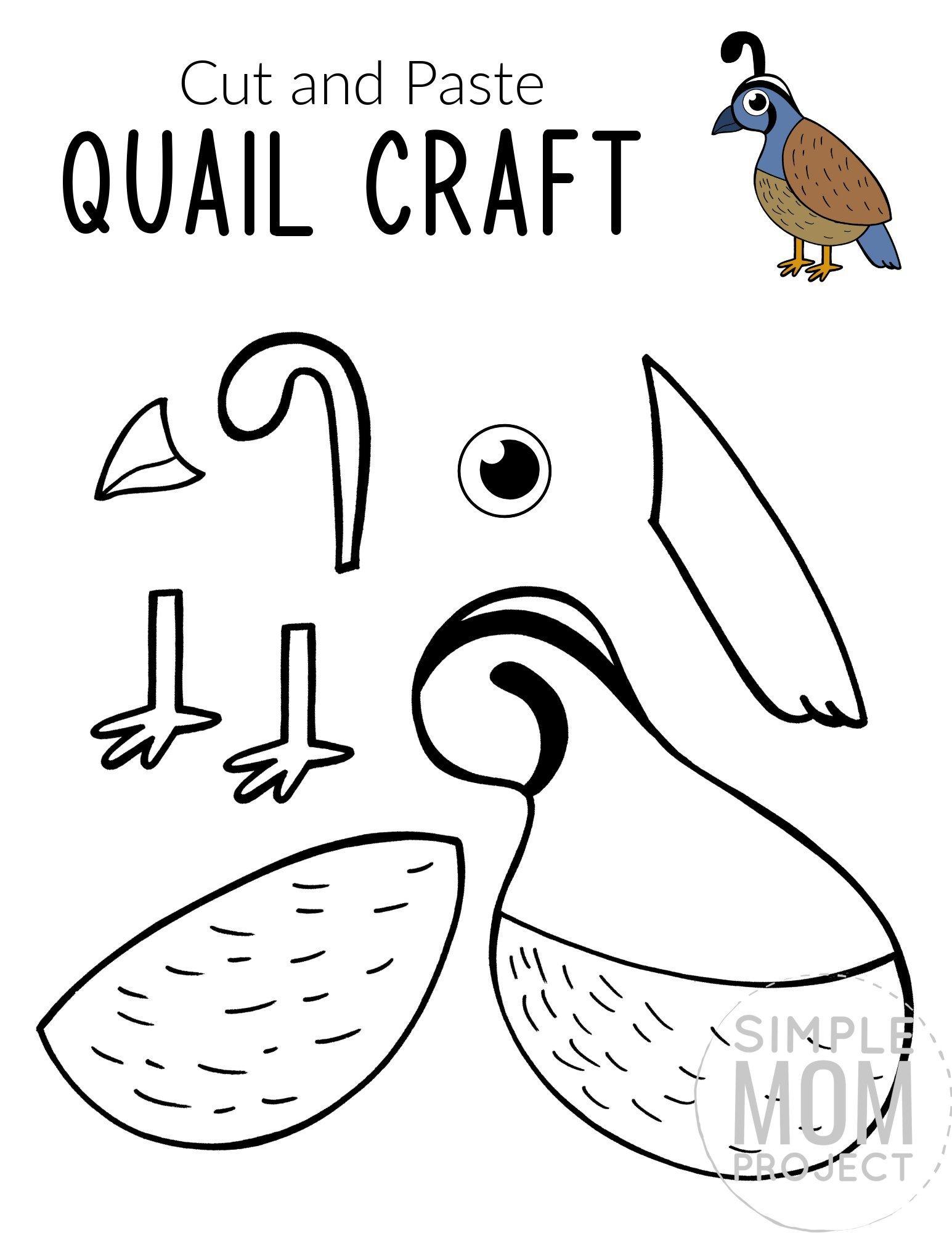 Printable Quail Craft for Kids, preschoolers toddlers and kindergartners