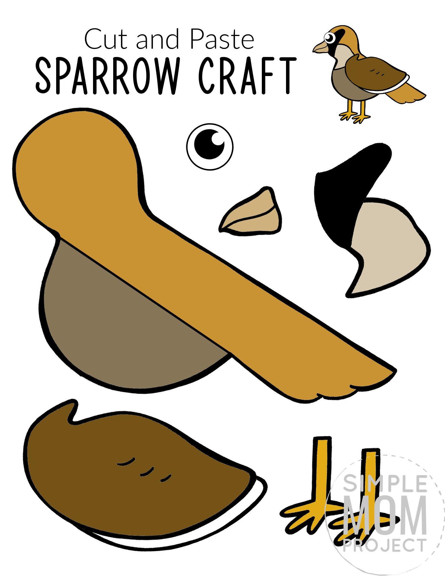 Printable Sparrow Craft for Kids, preschoolers toddlers and kindergartners