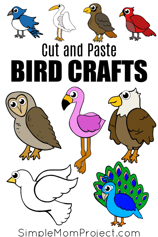 Printable Cut and Paste Bird Crafts for Kids, Preschoolers and Toddlers