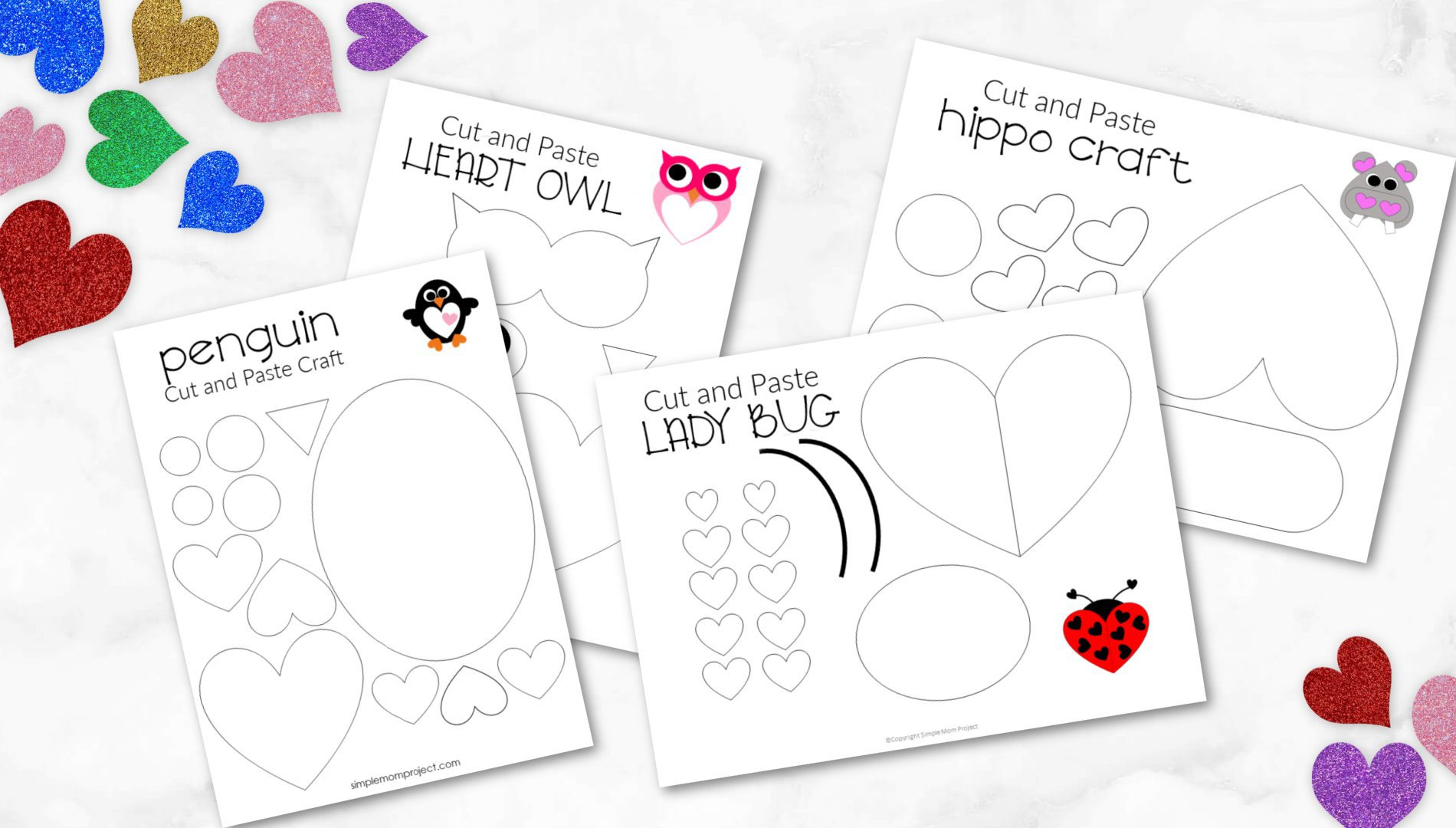Printable heart craft templates for kids preschoolers toddlers 1