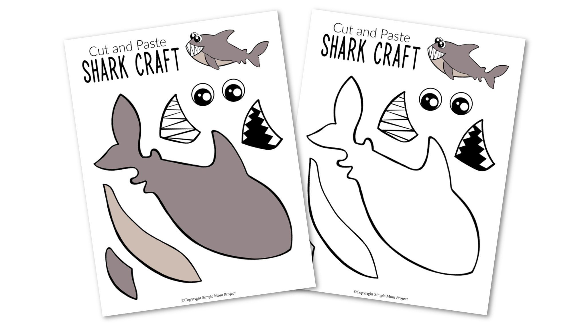 Free Printable Ocean Animal Shark Crafts for kids of all ages, including preschoolers and toddlers shark template 4