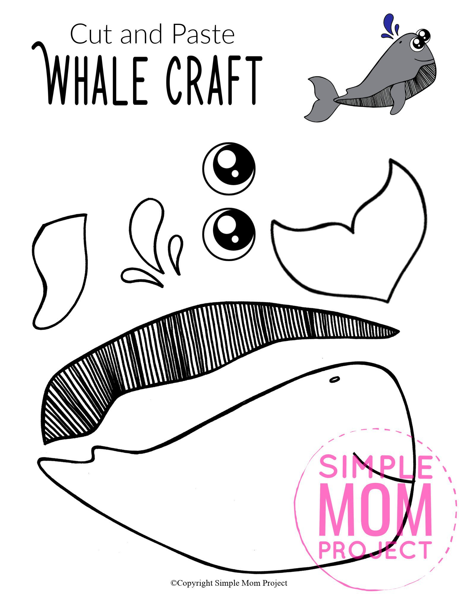 Free Printable Sperm Whale Ocean Animal Craft for Kids, preschoolers and toddlers whale template 3