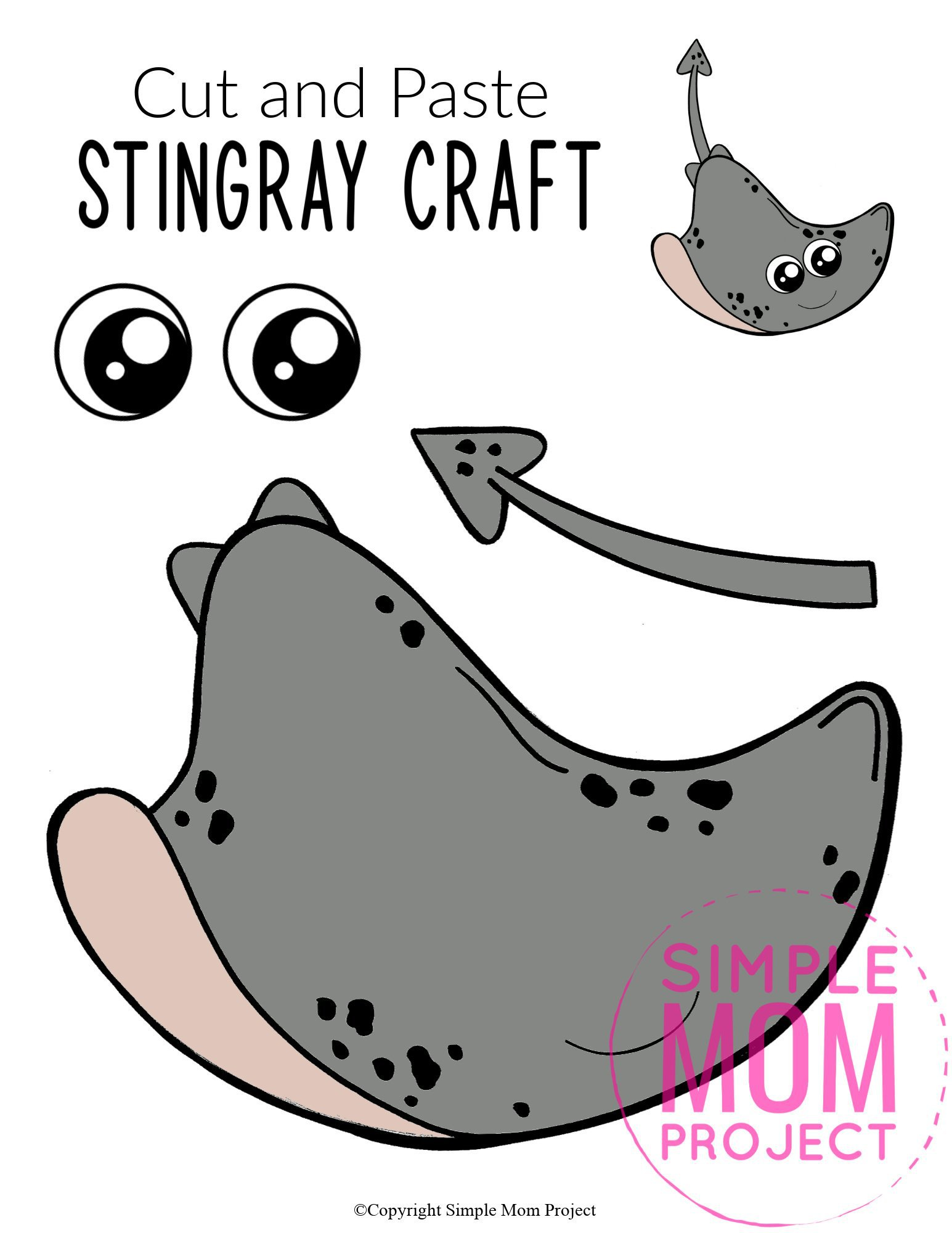 Free Printable Stingray Ocean Animal Craft for Kids, preschoolers and toddlers stingray template 3