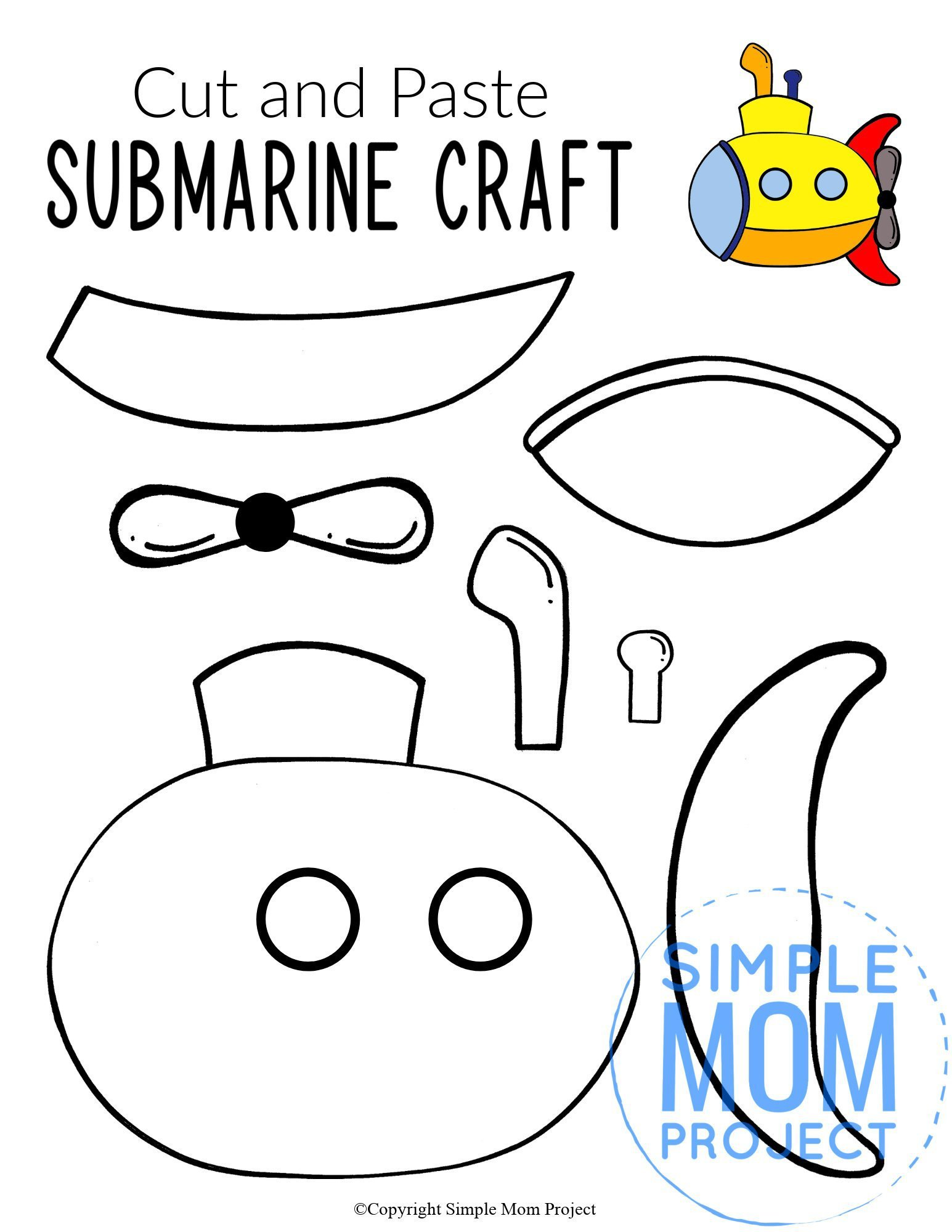 Free Printable Submarine Ocean Animal Craft for Kids, preschoolers and toddlers submarine template 3