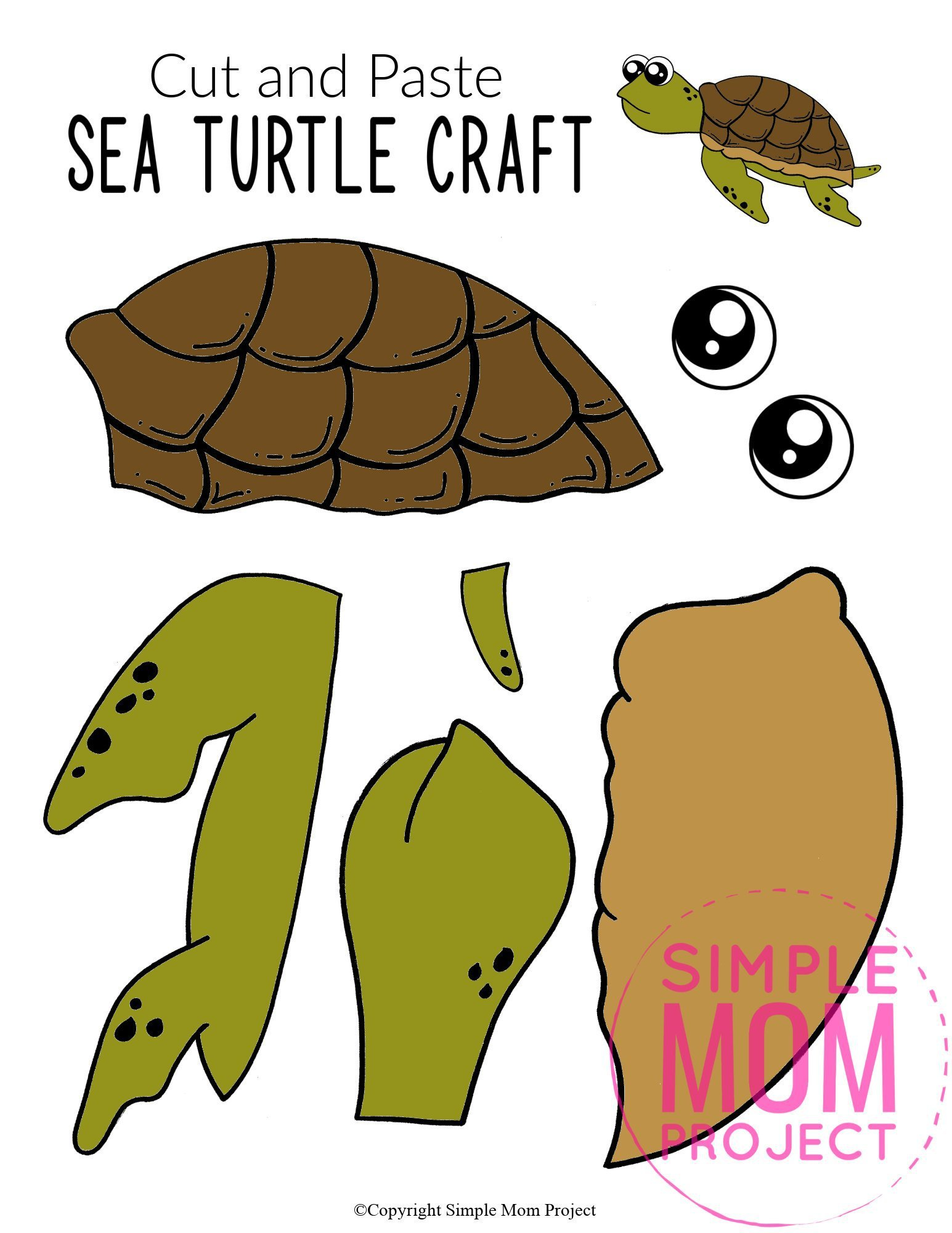 Free Printable Turtle Ocean Animal Craft for Kids, preschoolers and toddlers sea turtle template 3