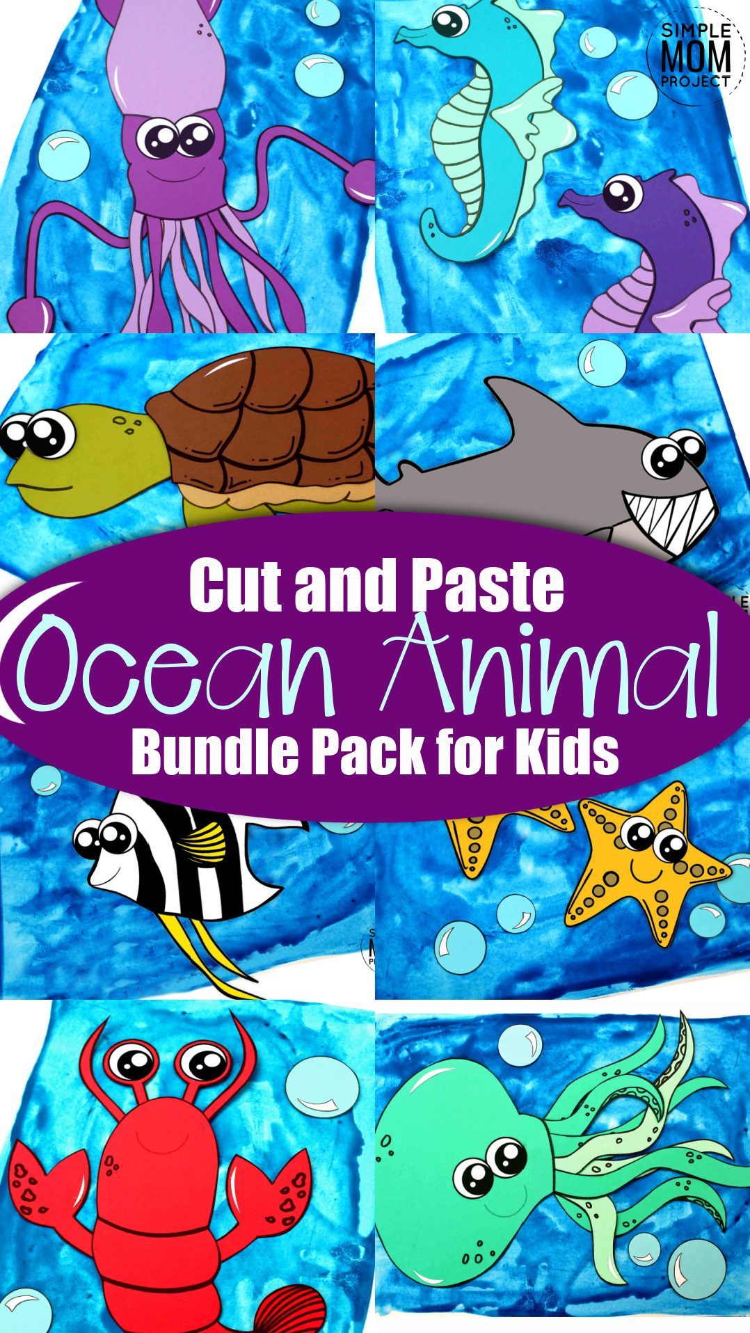 Printable Ocean Animal Crafts for Kids, toddlers, preschoolers 1