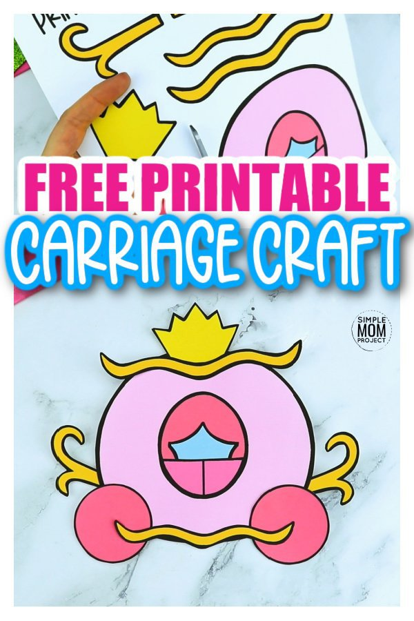 Whether it is Cinderella's carriage or it has turned into a pumpkin, all princesses need a carriage for their royal tea party! This free printable carriage template craft is a simple and fun craft to do with kids of all ages, including preschoolers and toddlers. You can glue it to a paper plate to display on the door or you can have a simple princess wall decoration for any princess themed room. Click to download this free printable carriage template now. #carriagecraft #carriagetemplate #SimpleMomProject