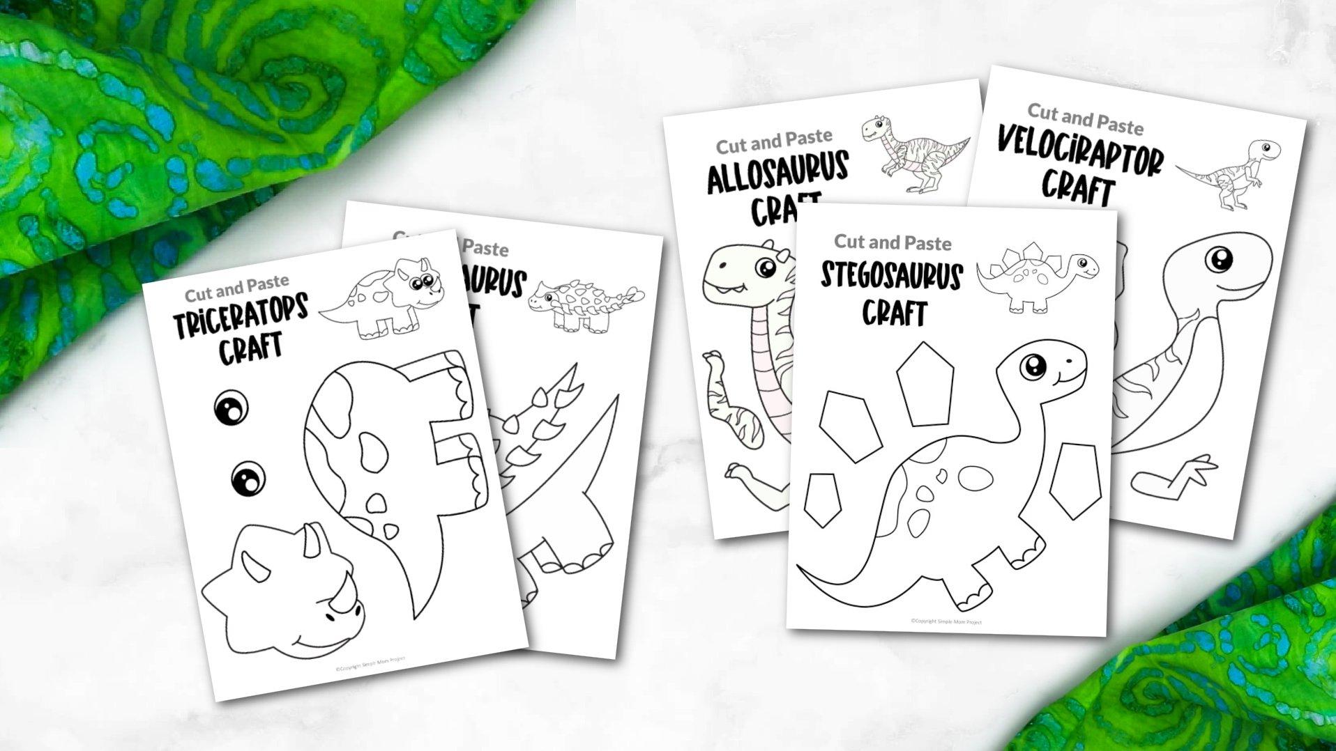 Printable Dinosaur Crafts for Kids, preschoolers, toddlers, kindergartners 2