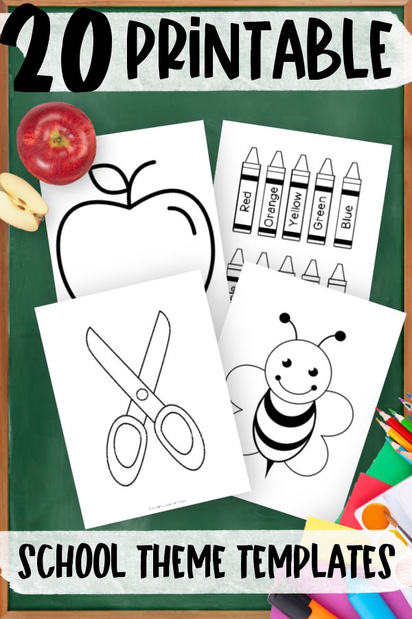 Printable School Suppy and Back to School Themed templates for elementary school teachers, students preschoolers and toddlers