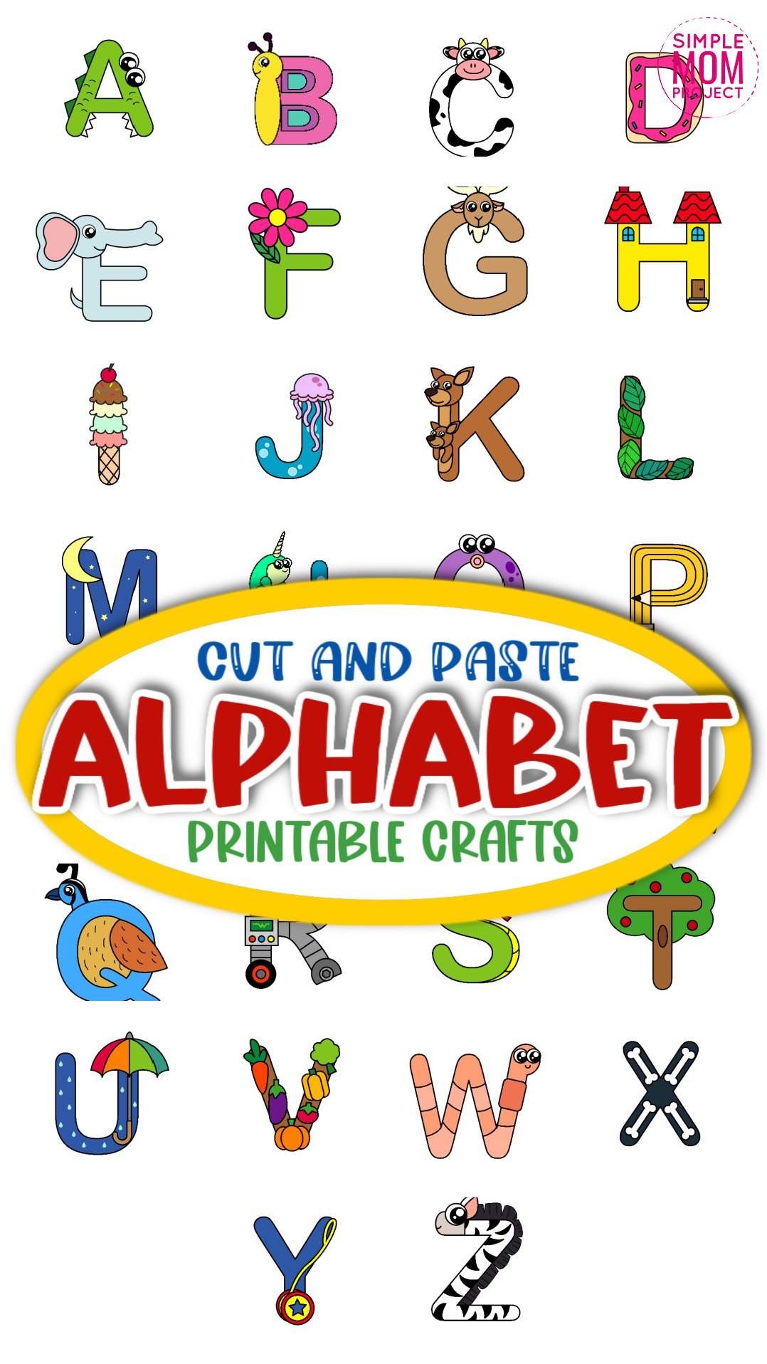 Printable Alphabet Crafts for Kids, preschoolers and toddlers