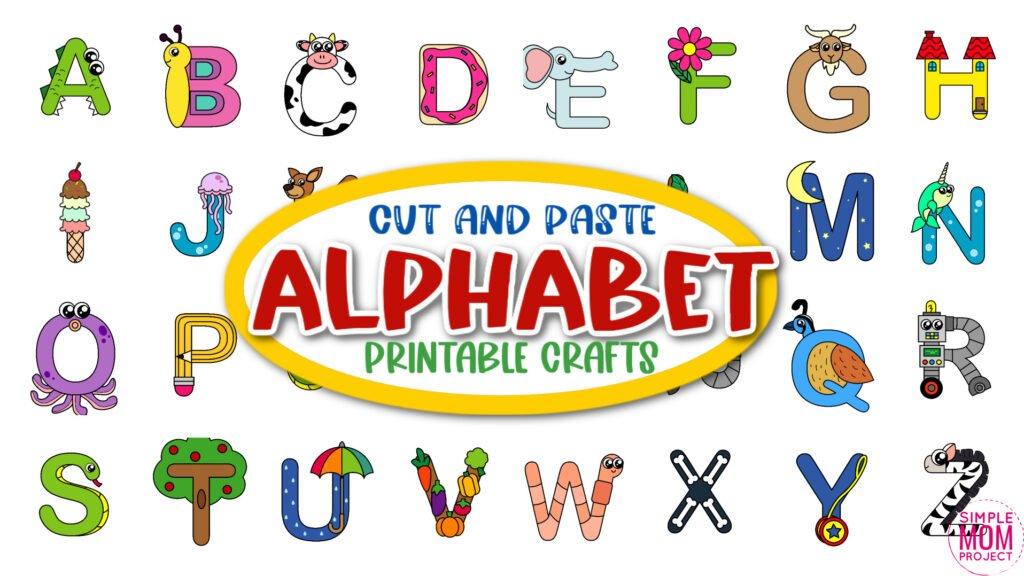 Are you looking for a fun preschool letter crafts simply for your kinder or toddler class? These a to z craft letter animals can be an uppercase coloring activity or print and go. You can even glue any of these fun alphabet crafts to a paper plate and your kids will have a blast! Grab the whole book and print and download all the alphabet crafts now!
