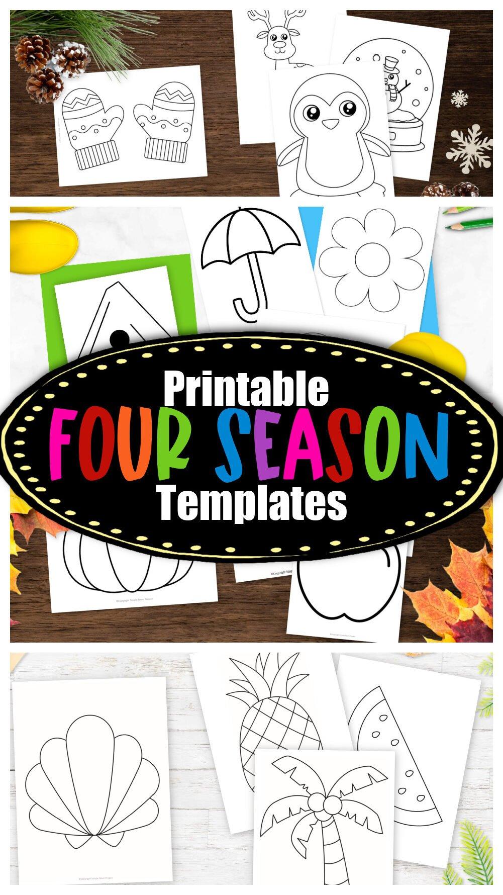 Printable Four Season Templates for Preschoolers, Toddlers and Kindergartners