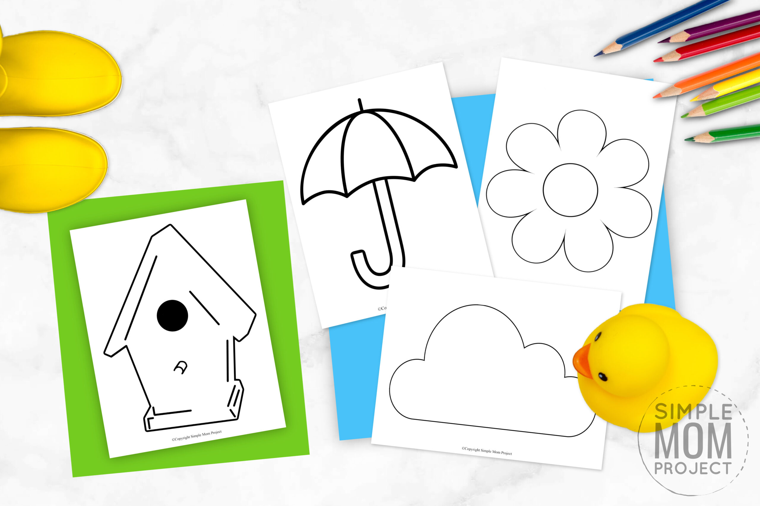 Printable Spring Templates for Preschool, kindergarten and toddlers for spring crafts