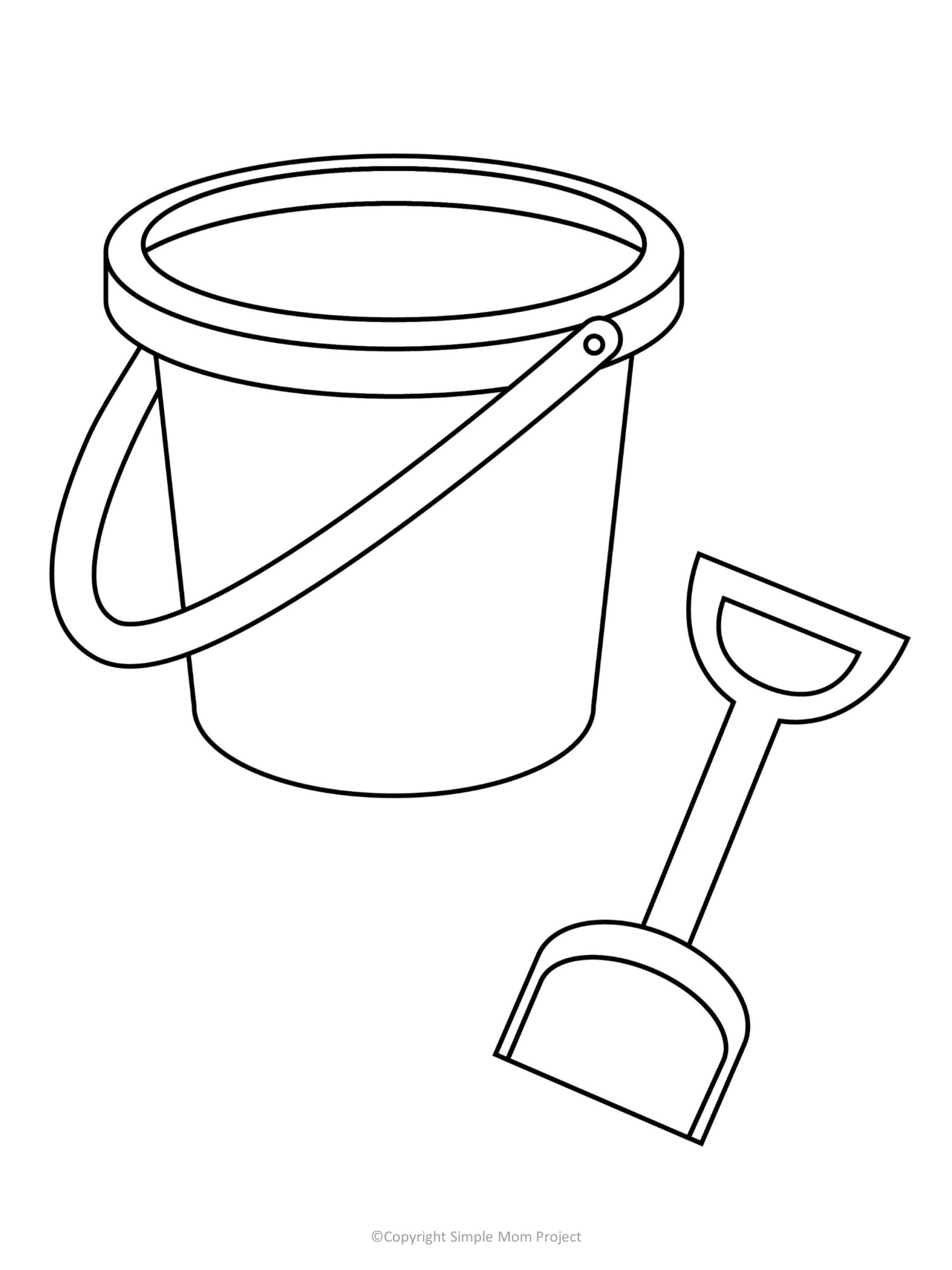 printable sand bucket and shovel template for preschoolers, toddlers and summer crafts