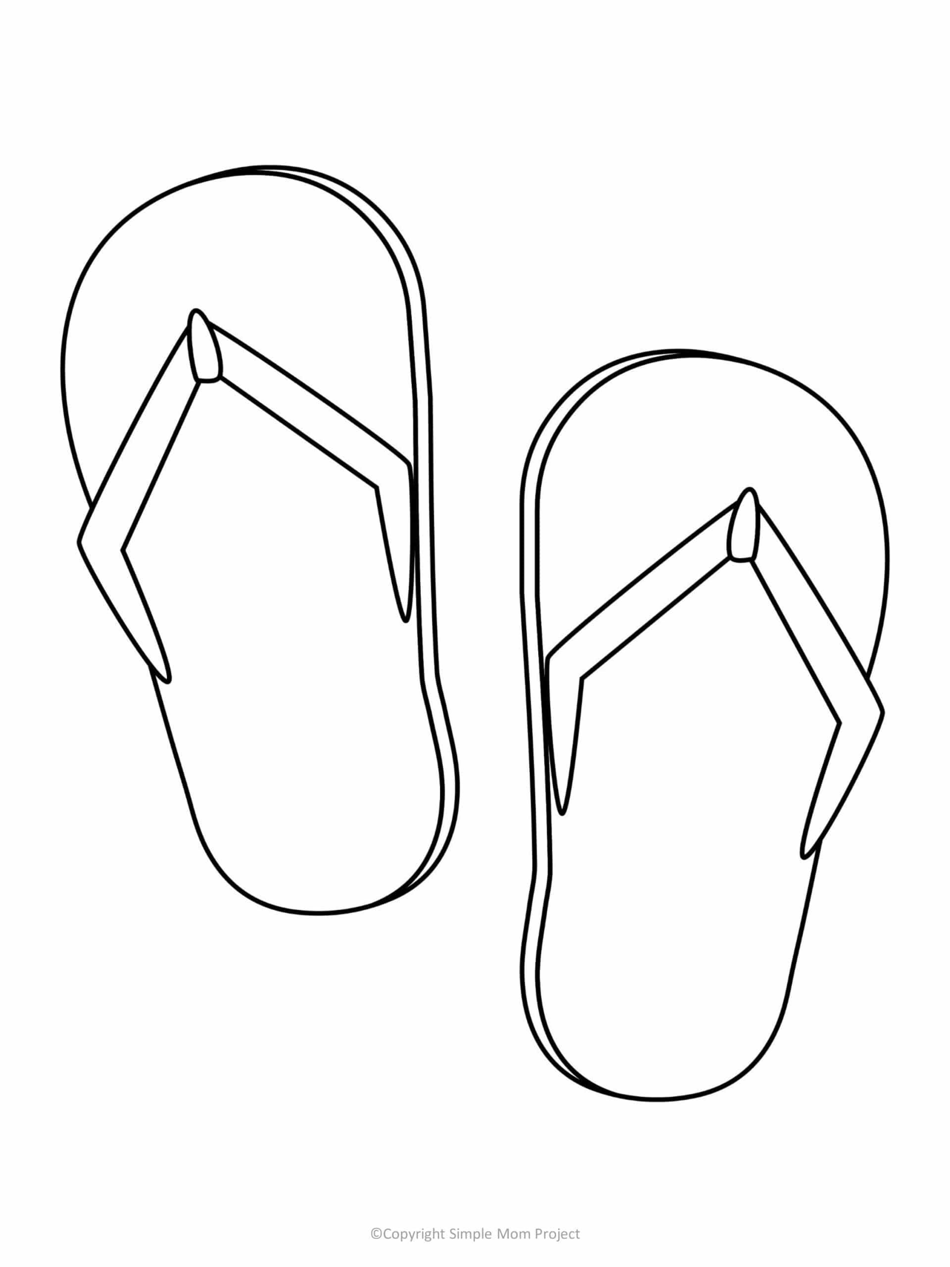 printable flip flops template for kids, preschoolers, and toddlers