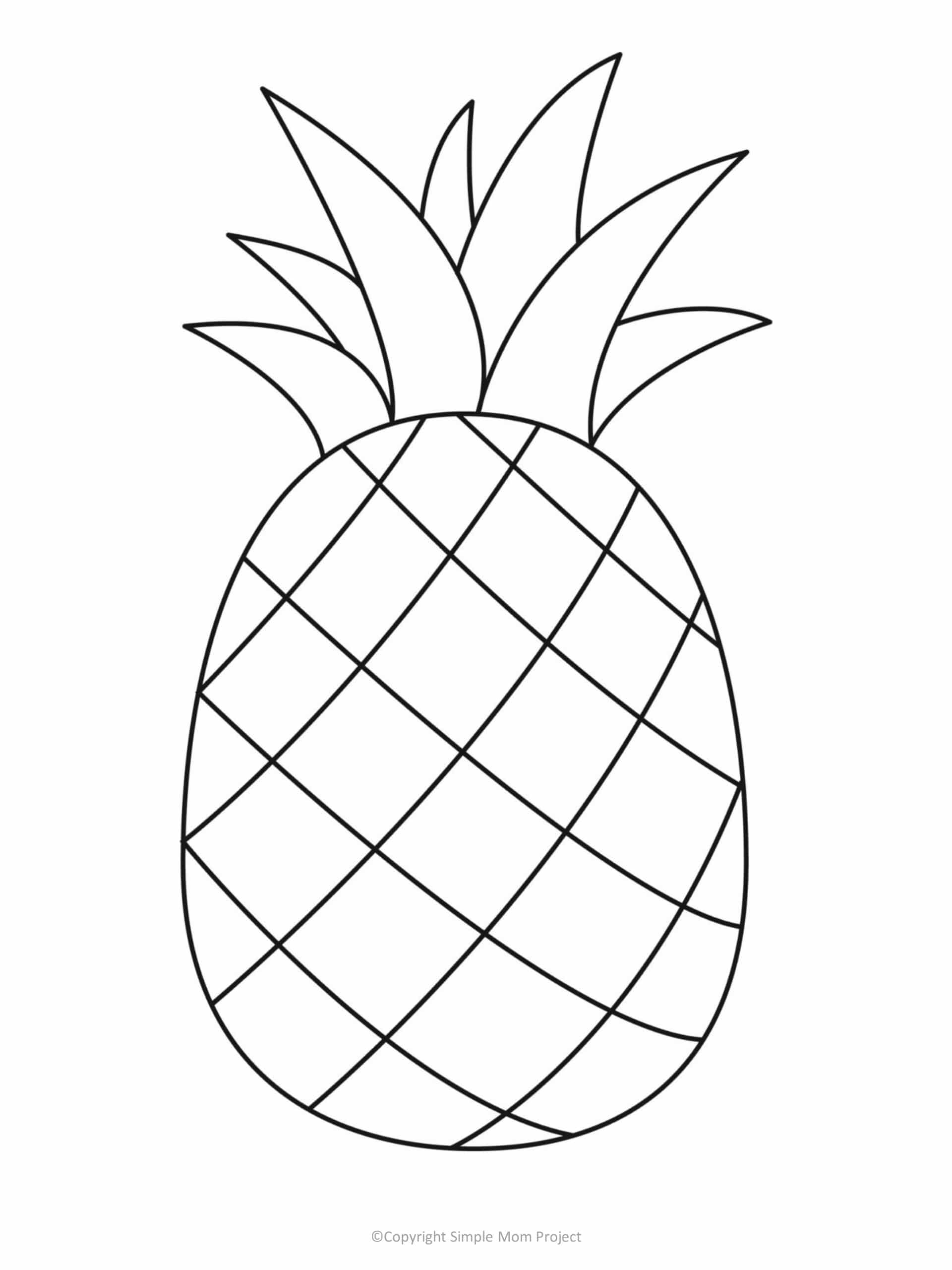 printable pineapple template for preschoolers, toddlers and summer crafts