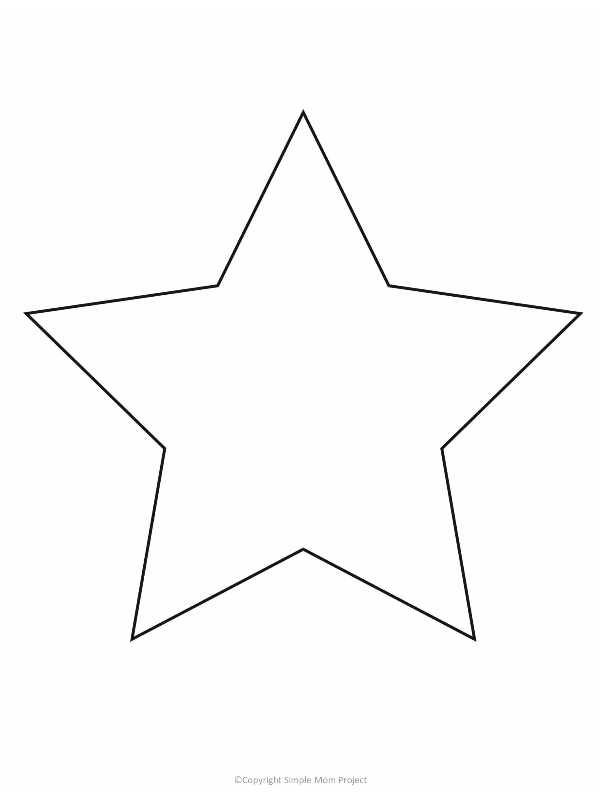 printable star template for preschoolers, toddlers and summer crafts