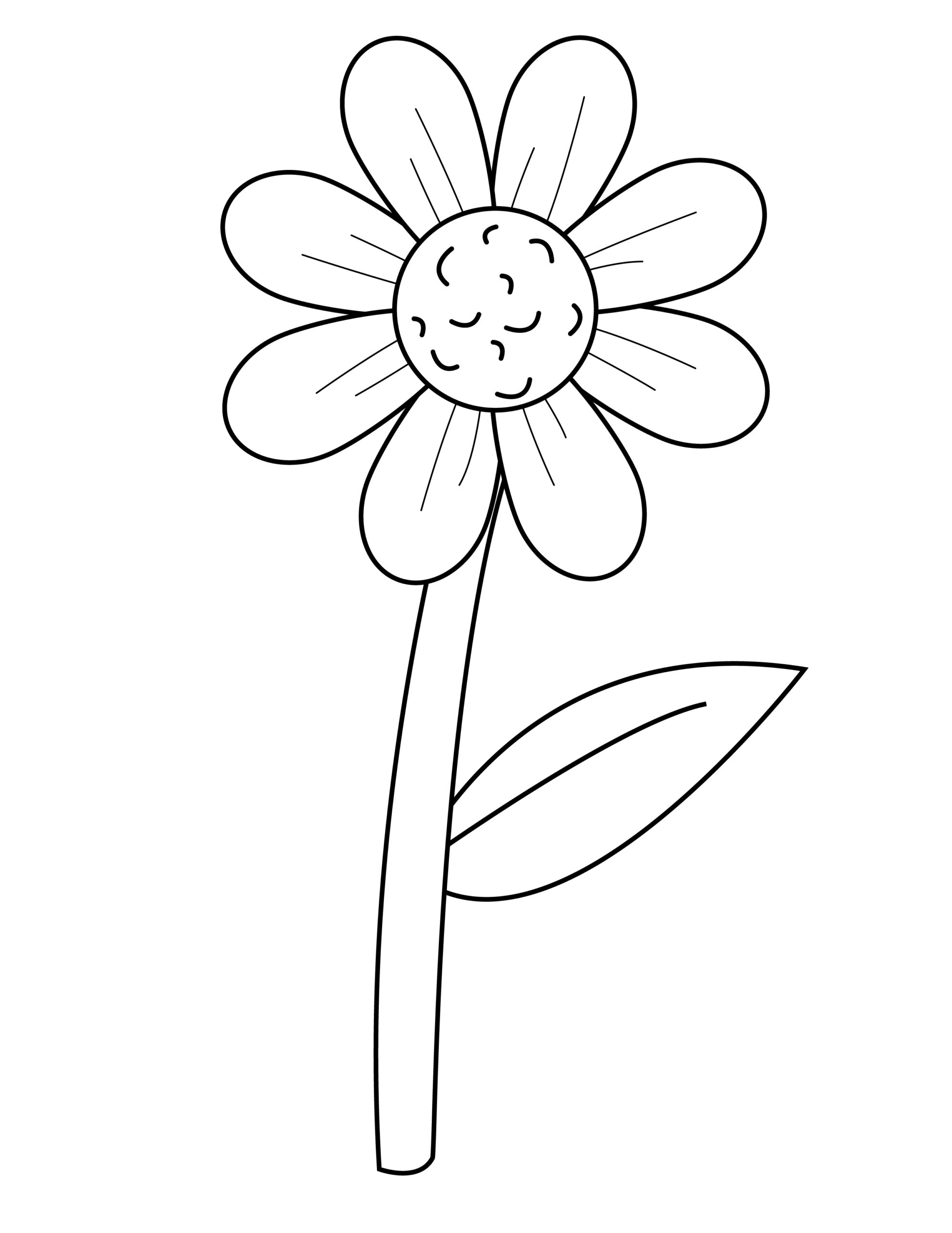 Printable daisy template for summer template crafts for kids, preschoolers and toddlers