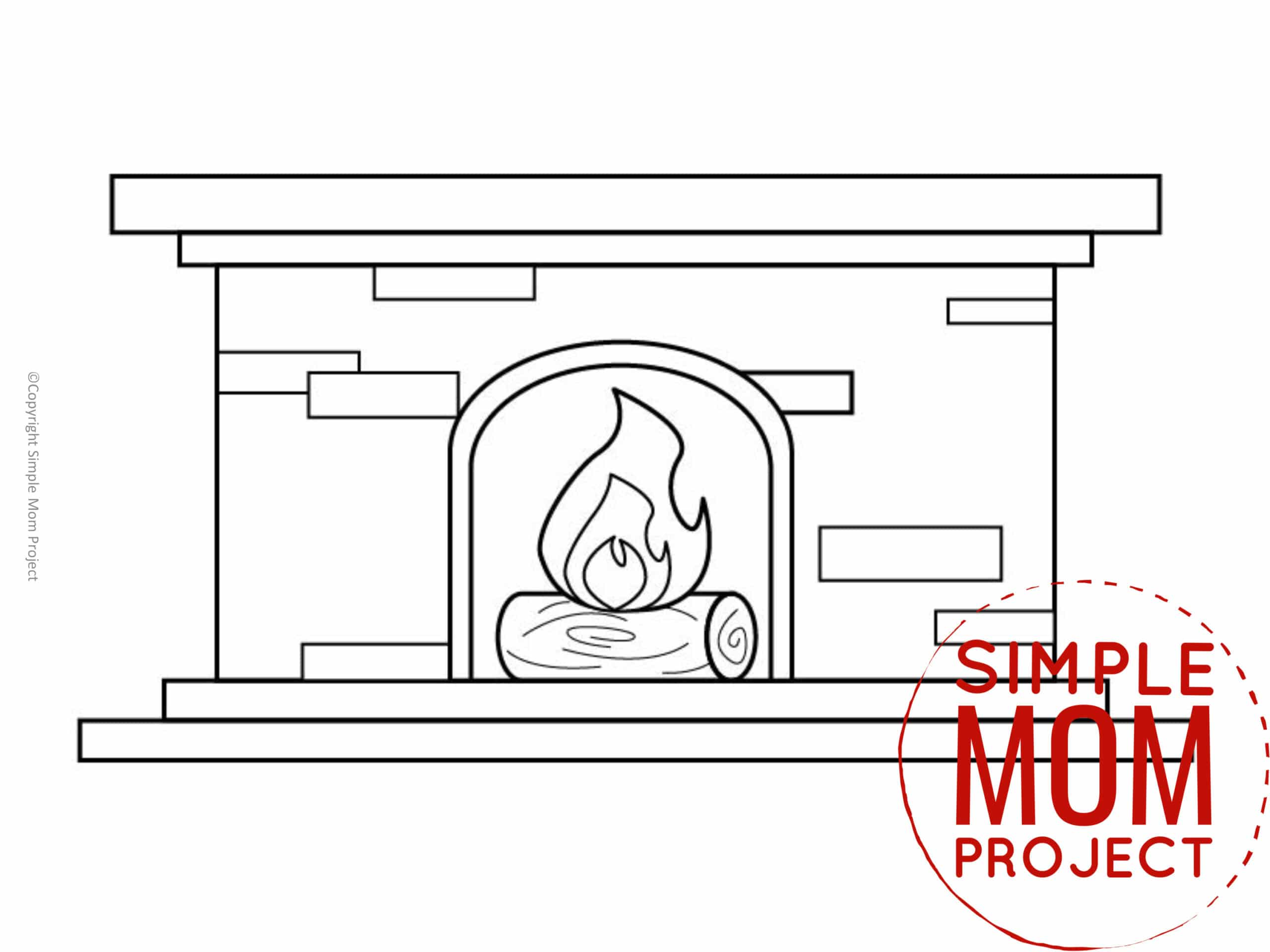 Printable Fire Place Template coloring page for preschoolers, toddlers and kindergartners 1