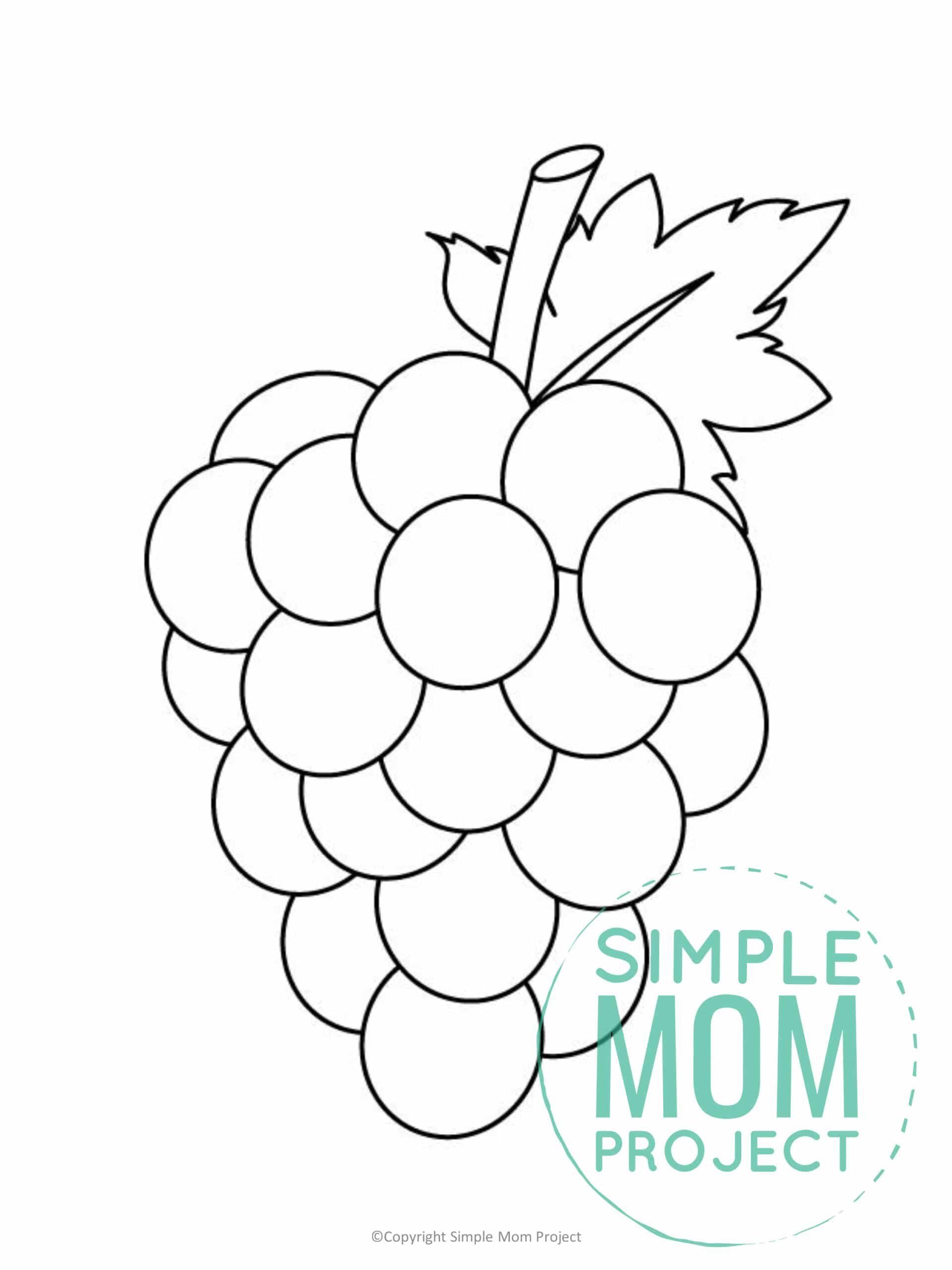 Printable Large Grape Template for Fall Crafts, Spring Crafts