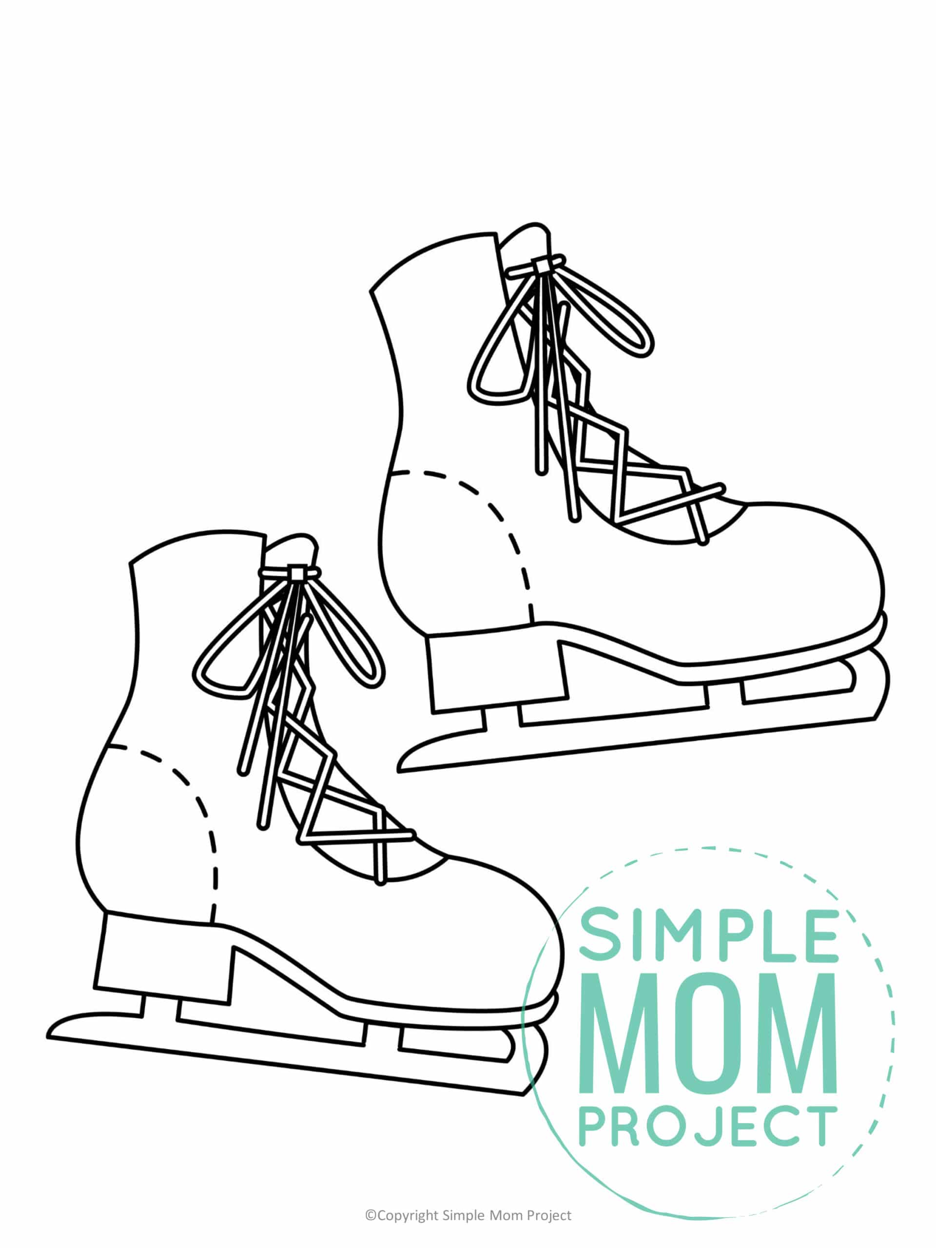 Printable Skate Template coloring page for preschoolers, toddlers and kindergartners 1