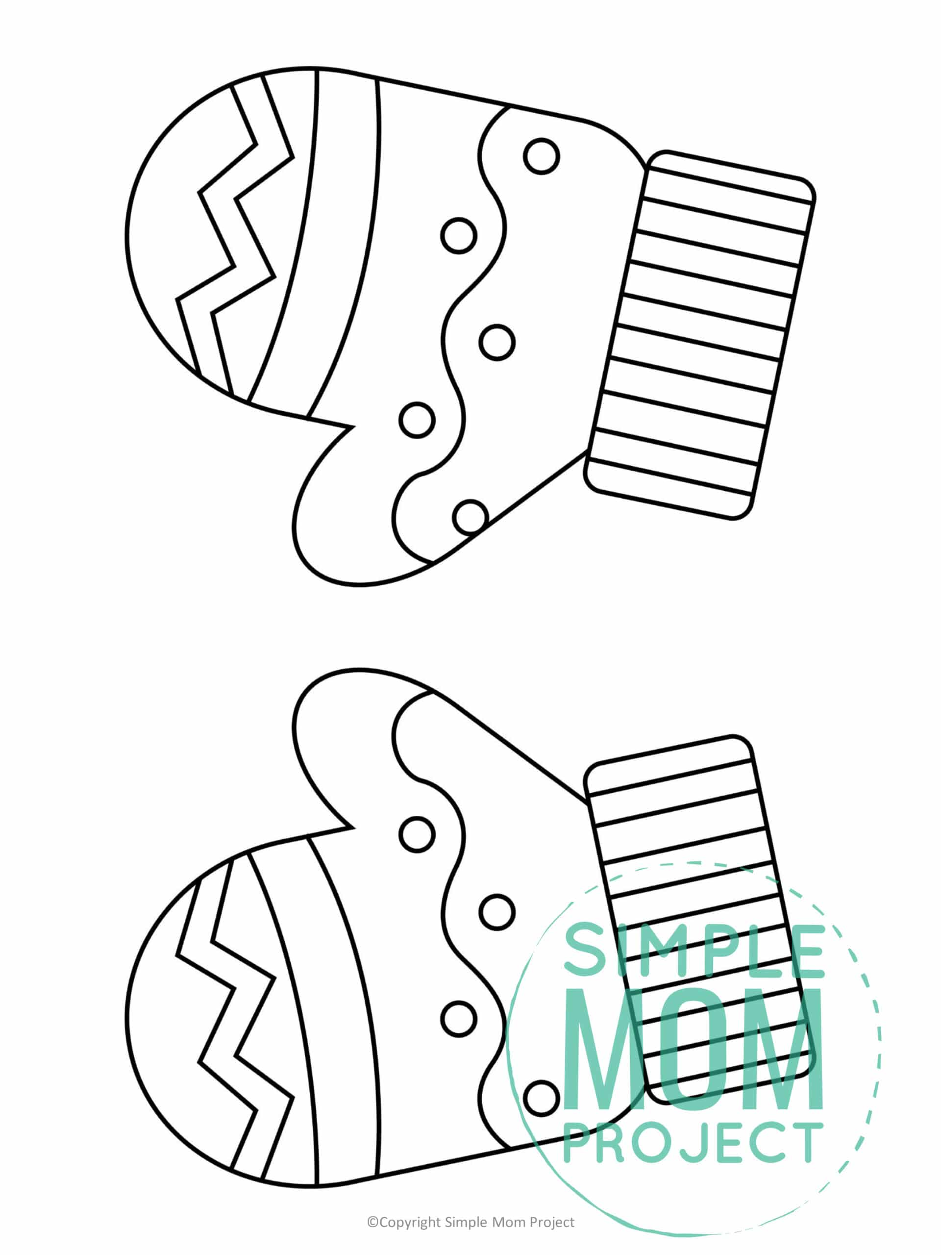 Printable Mittens Template coloring page for preschoolers, toddlers and kindergartners 1