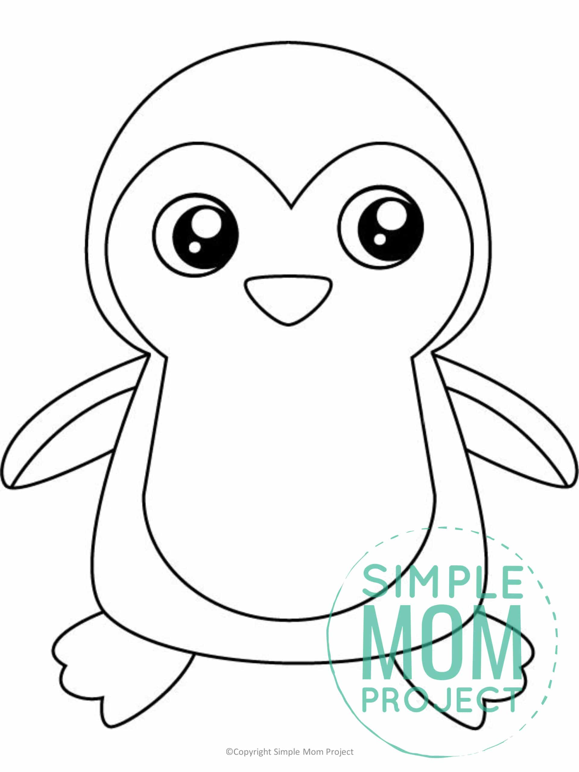 Printable Penguin Template coloring page for preschoolers, toddlers and kindergartners 1