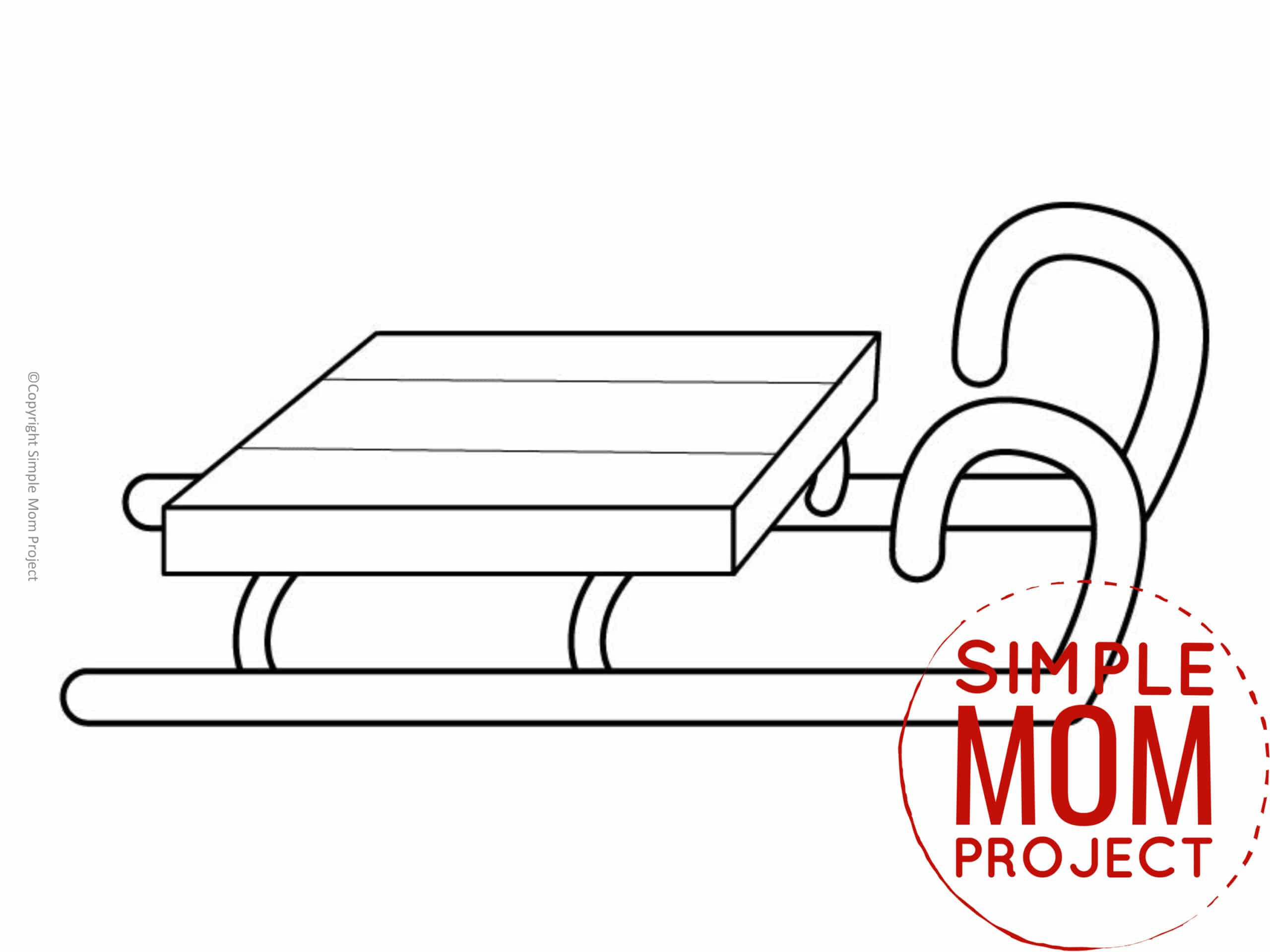 Printable Sled Template coloring page for preschoolers, toddlers and kindergartners 1
